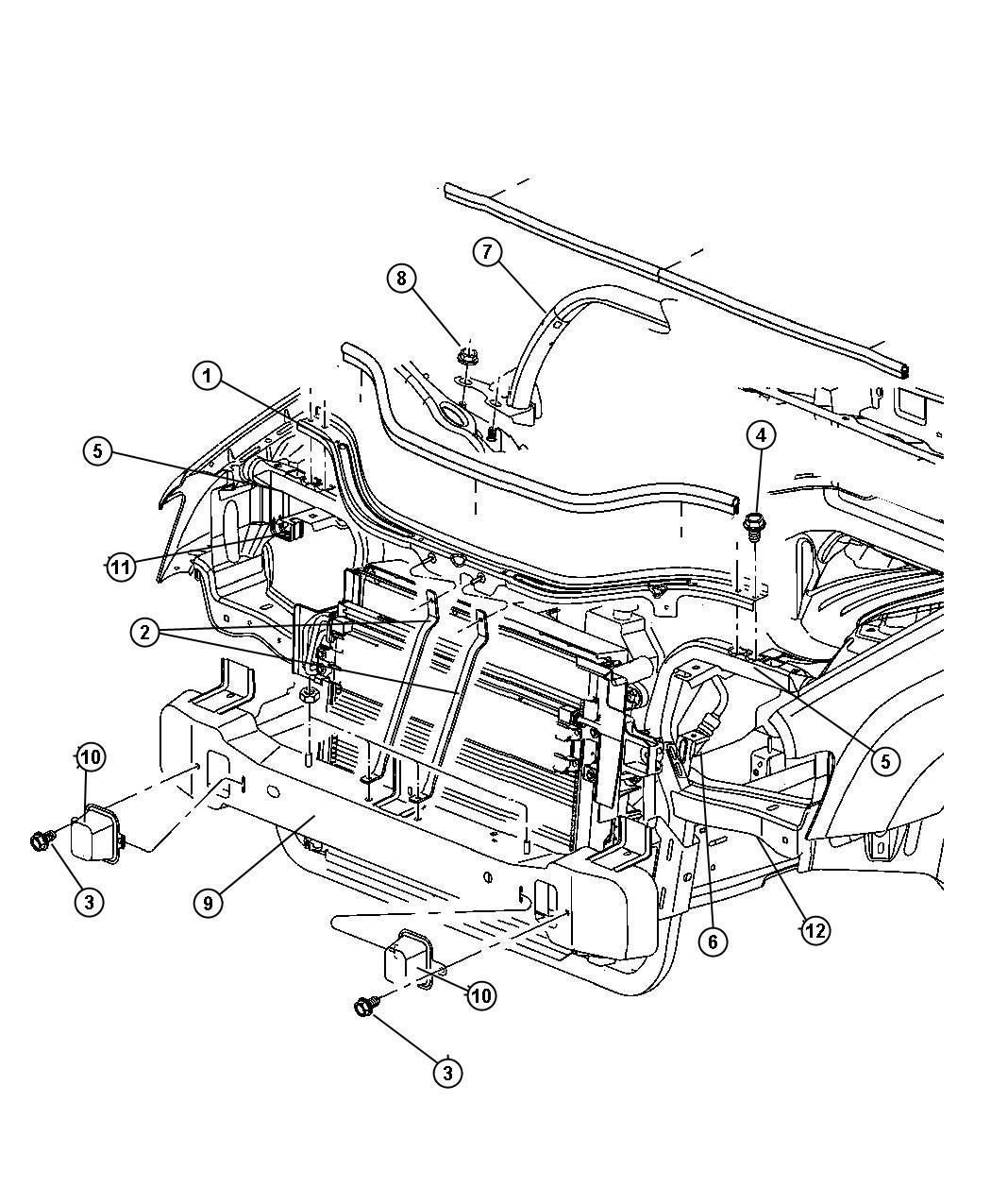 Jeep Grand Cherokee Crossmember Lower Radiator Support Upper