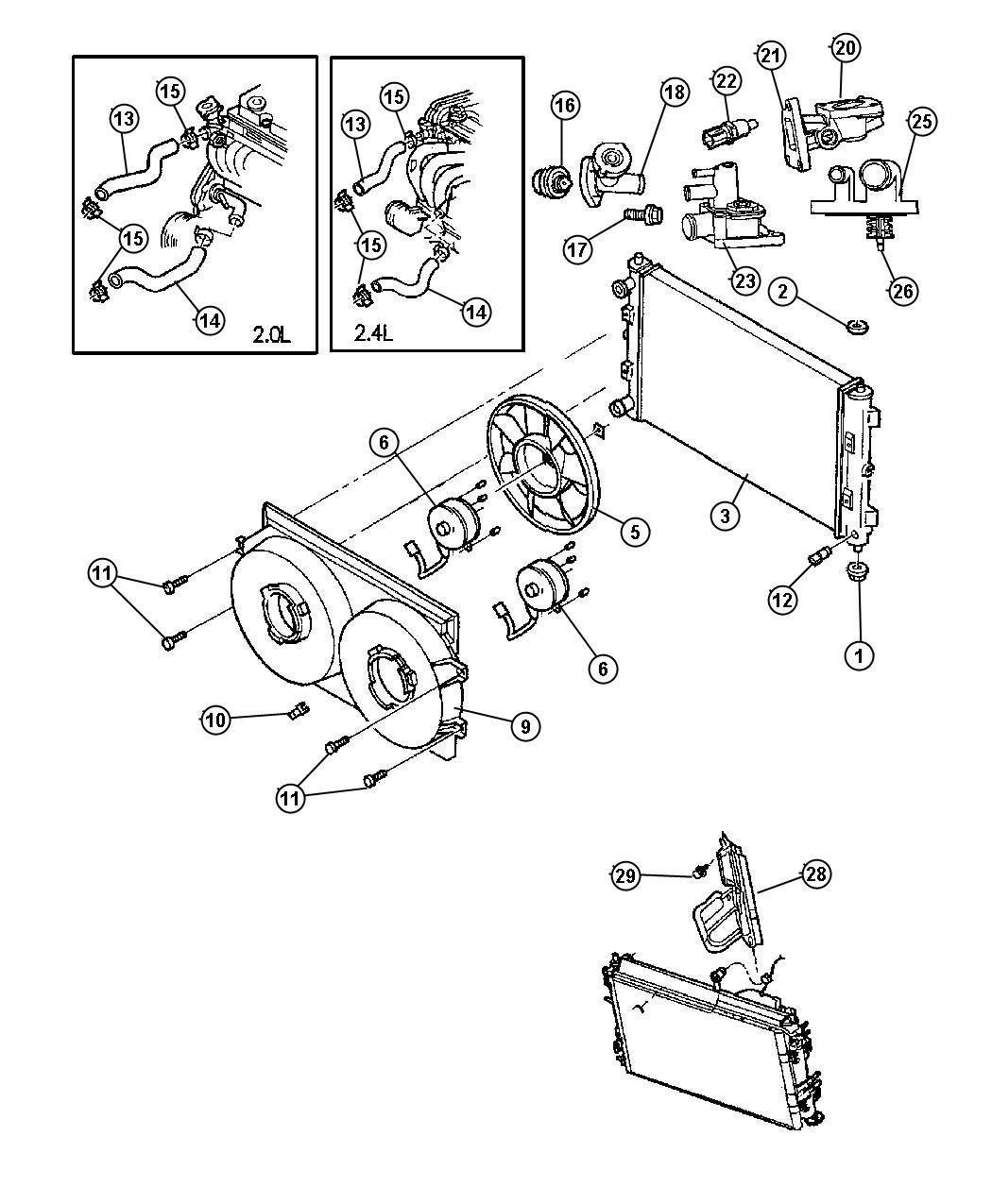 Dodge Stratus Housing Thermostat Engine Dohc Smpi