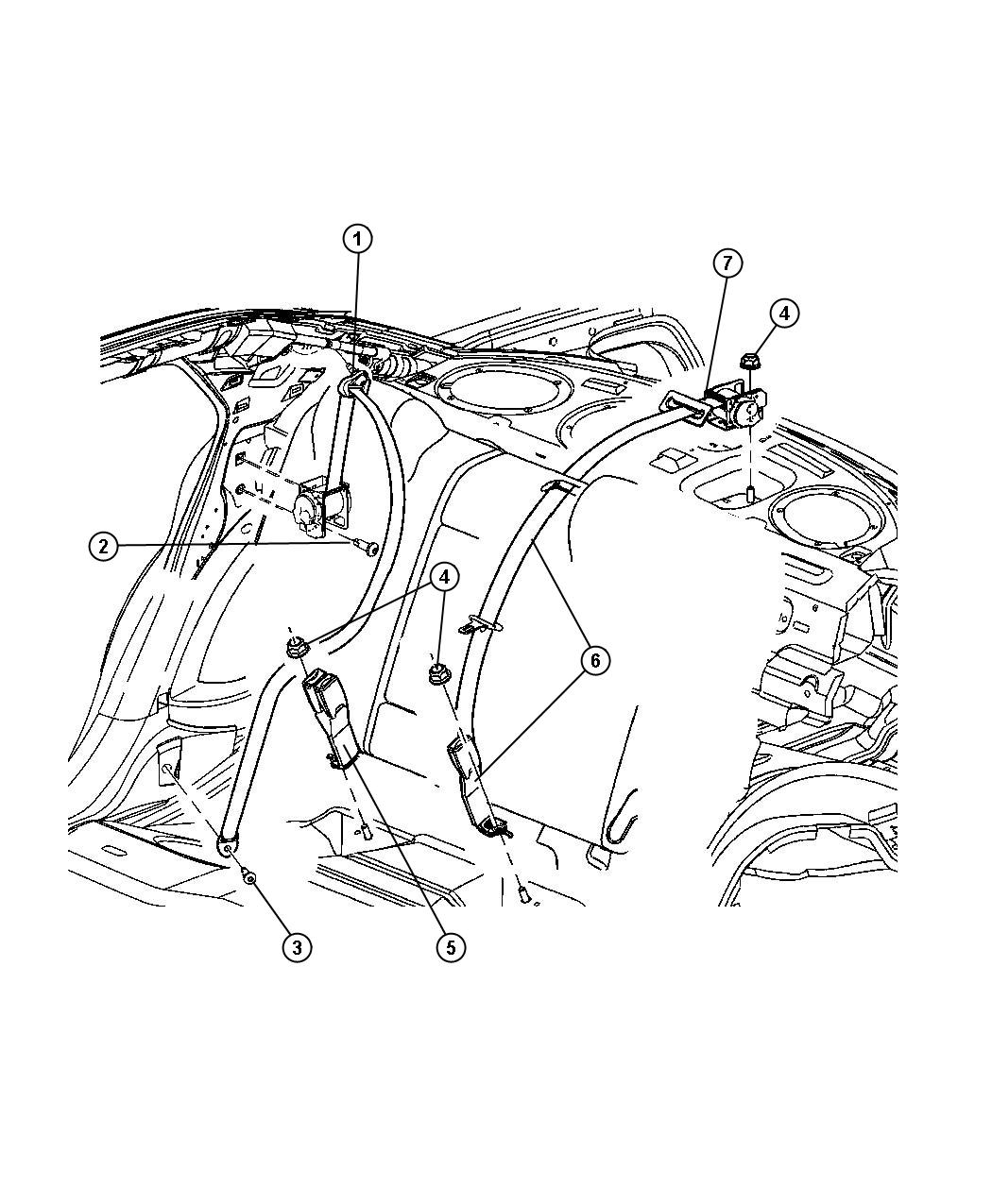 Chrysler 300 Seat Belt Rear Inner Db Light Slate Trim O0 Color Db