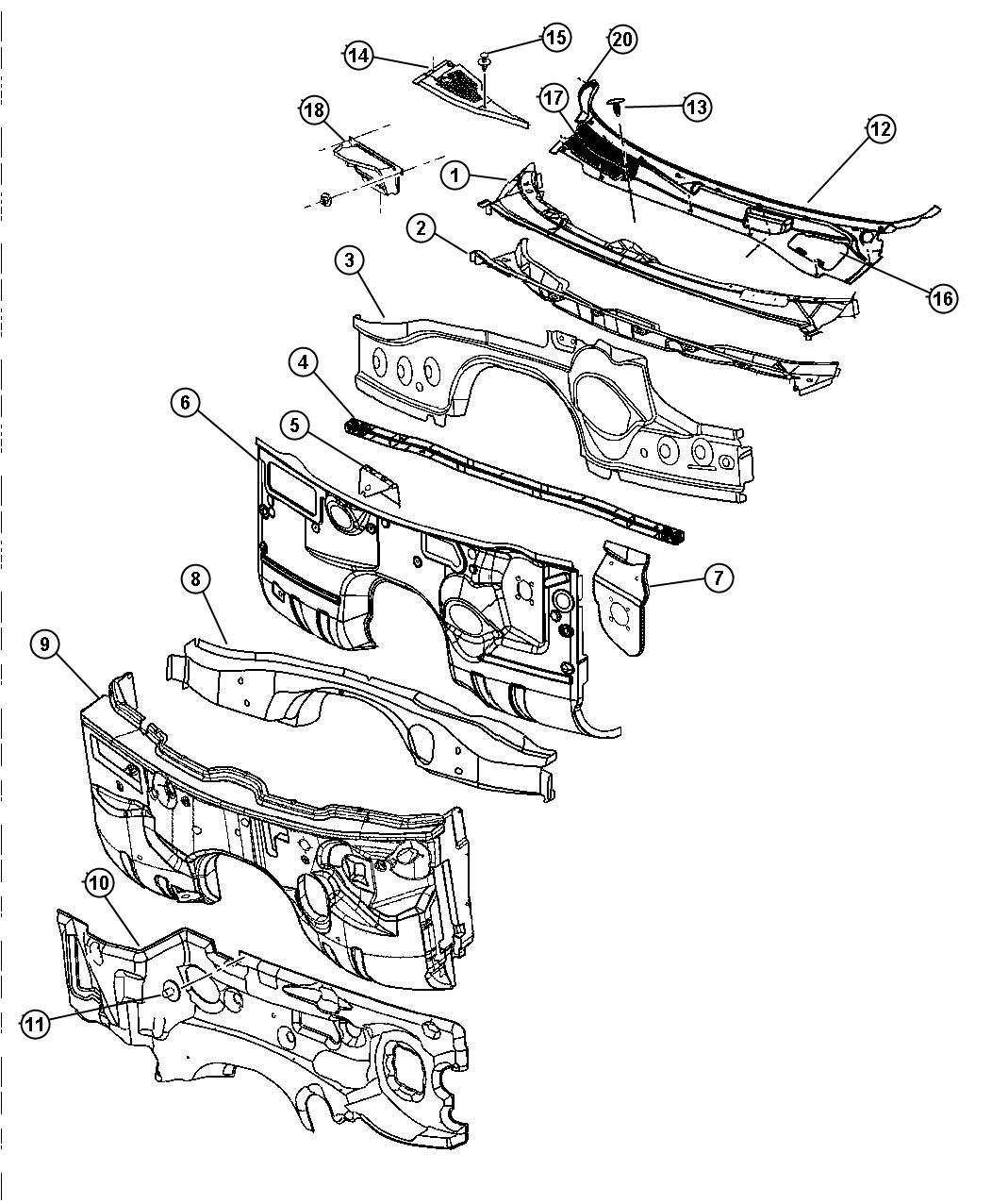 Dodge Magnum Panel Cowl Plenum Lower Related Dash