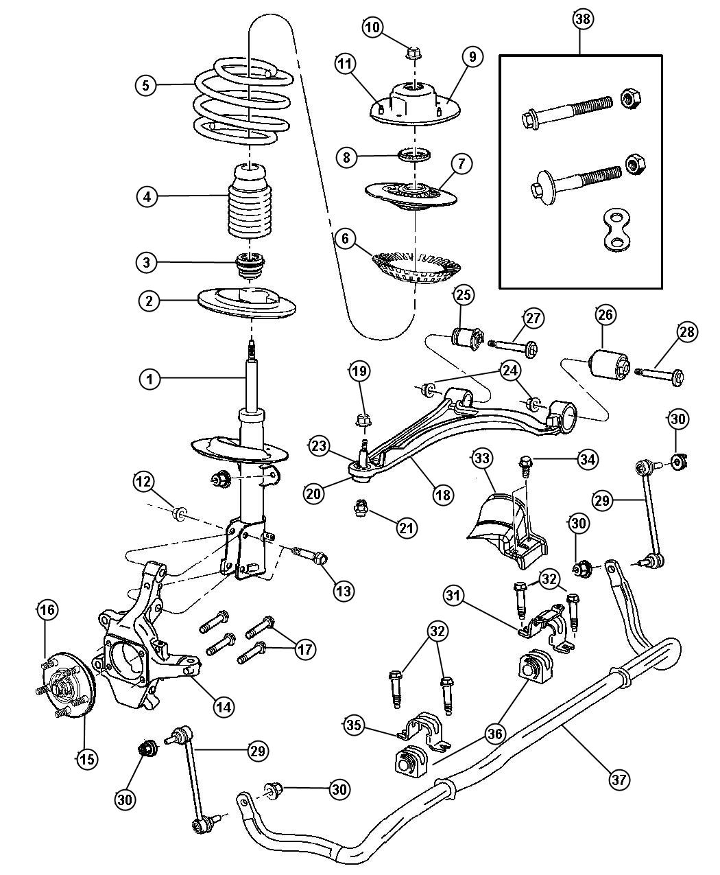 Chrysler Pacifica Mount Strut Suspension Front