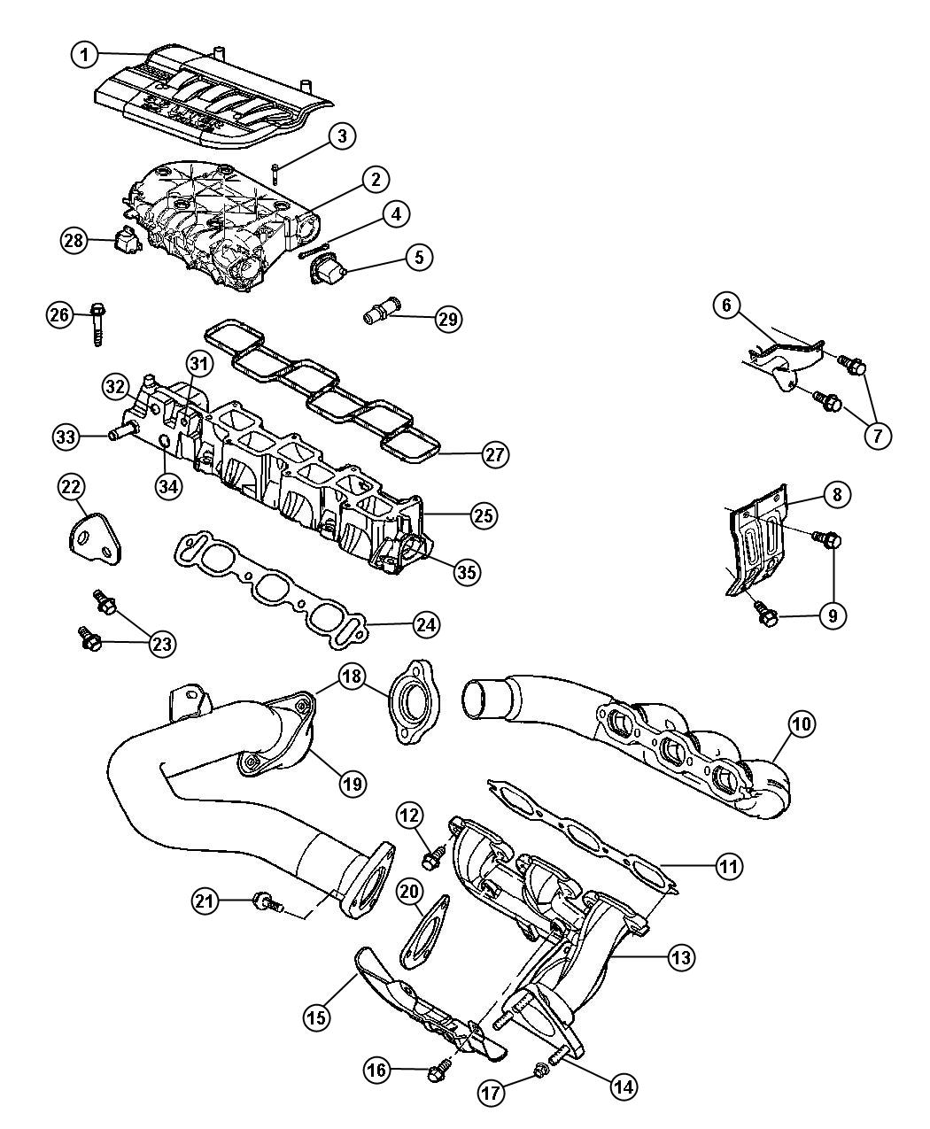 Chrysler Pacifica Gasket Crossover Pipe Engine