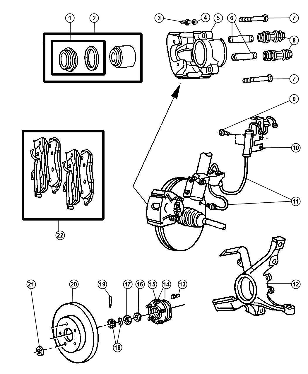 Dodge Grand Caravan Pad Kit Front Disc Brake Mopar