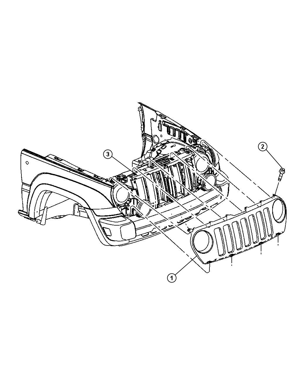 Jeep Liberty Reinforcement Grille Opening Headlamp
