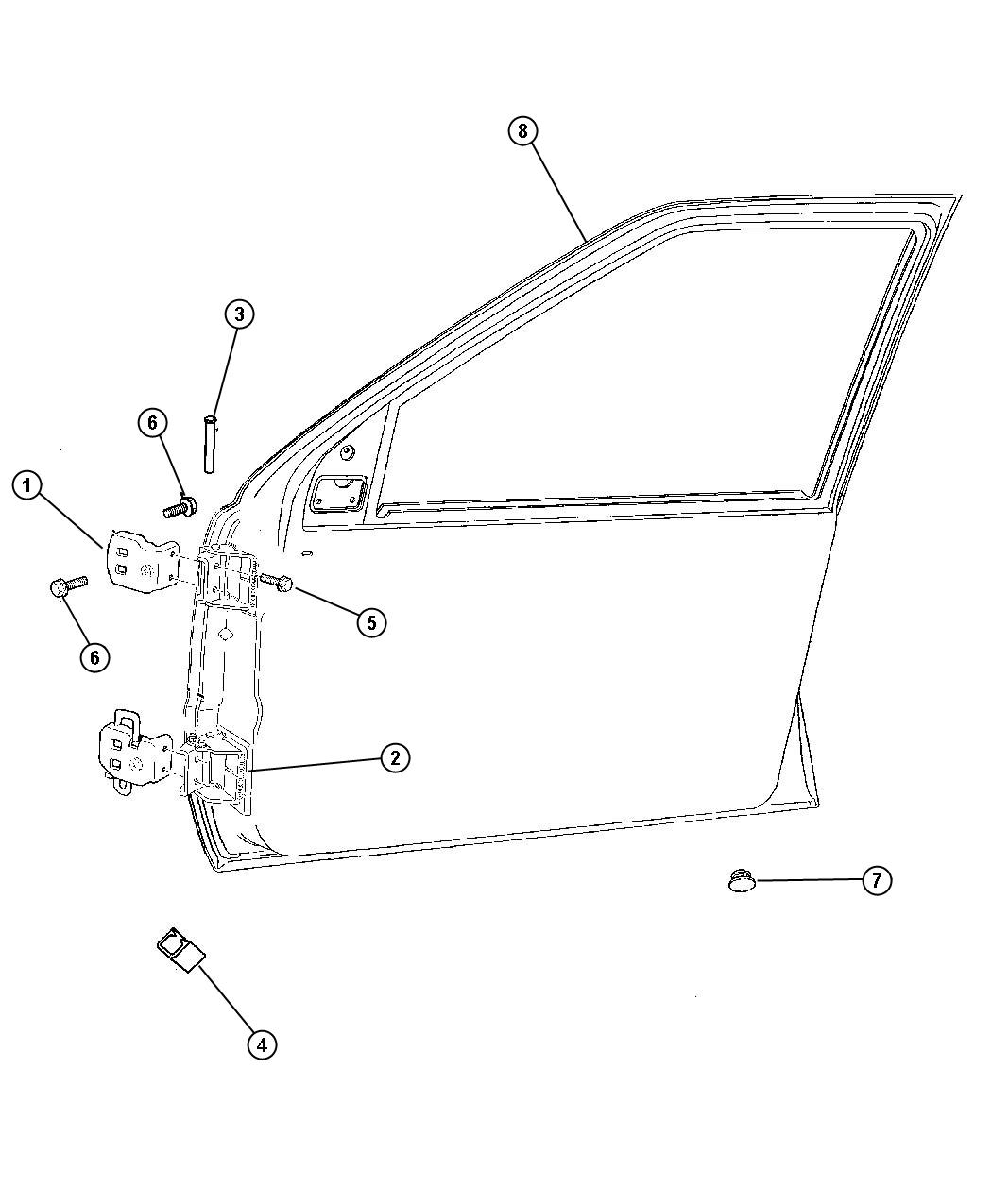 Dodge Ram Bushing Pin Hinge Pin Body Front Door