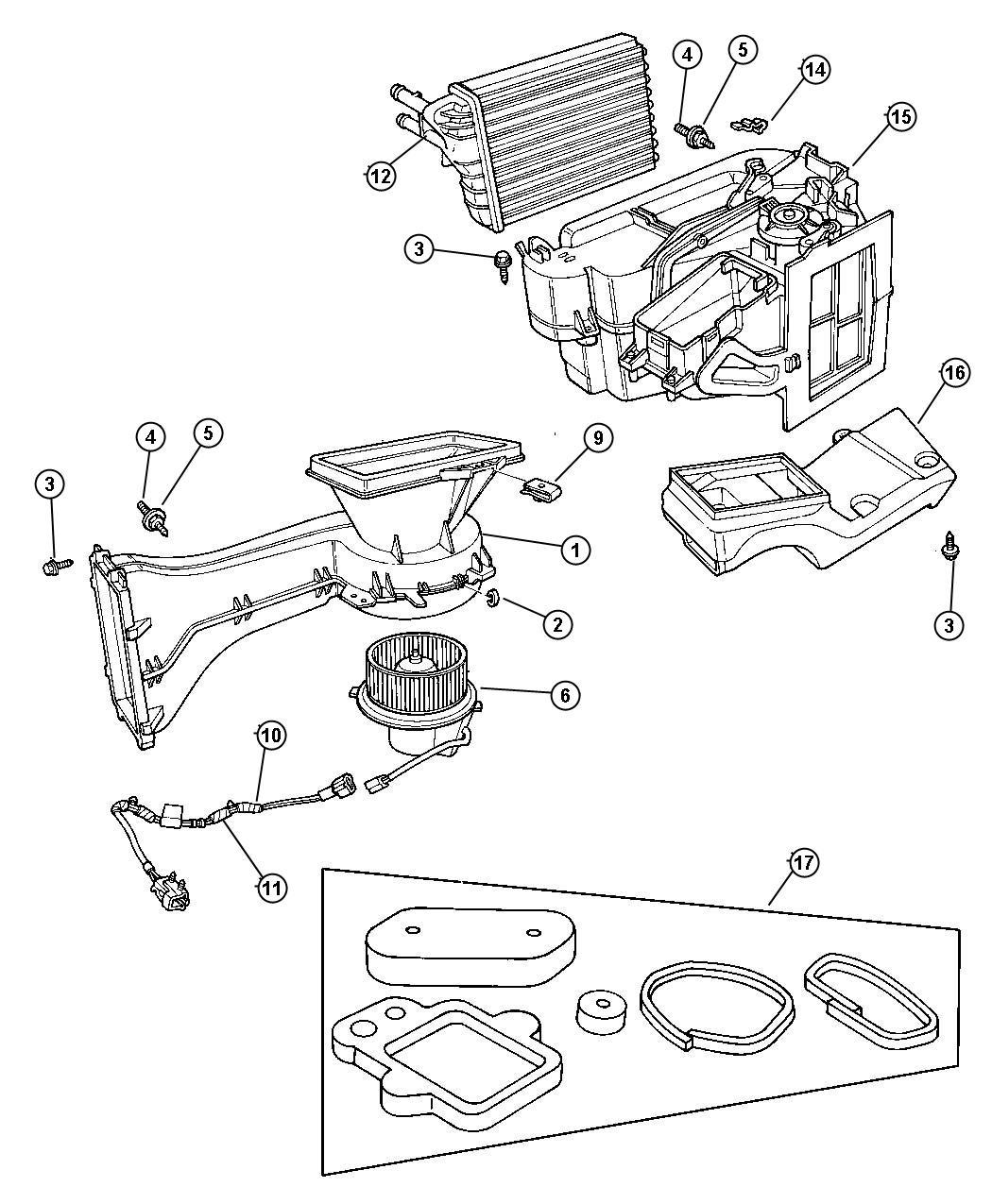 Dodge Neon Motor Package Heater Blower Air