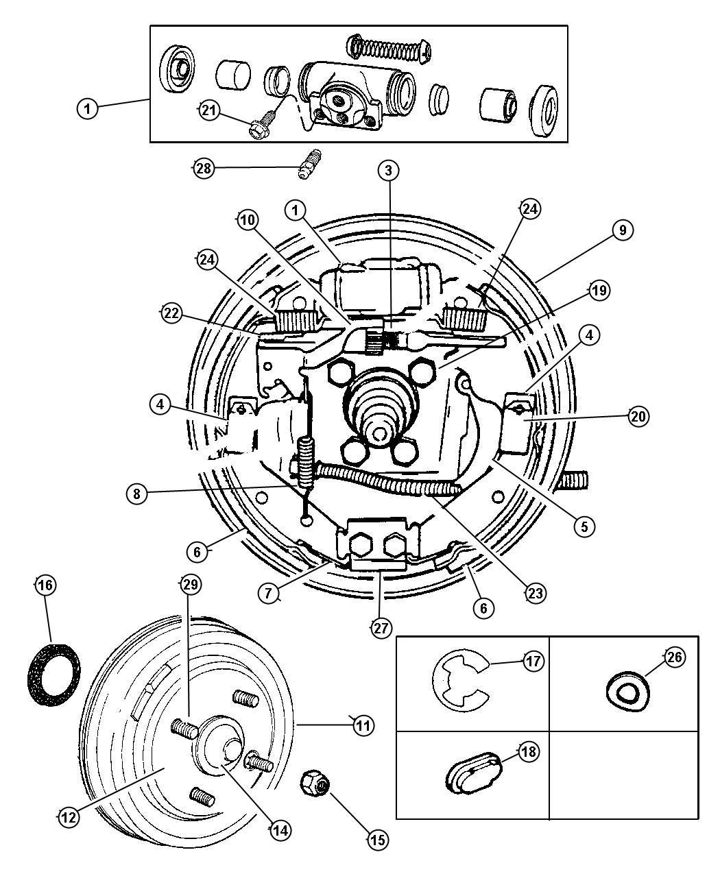 Chrysler Sebring Drum Brake Disc Rear Front