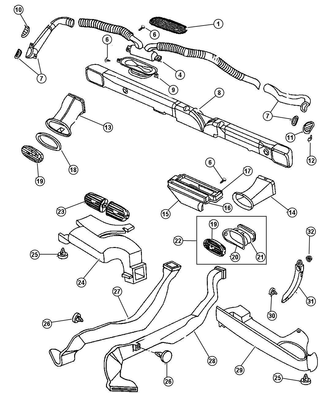 Chrysler Cirrus Duct Heat Distribution Rear Right Rear