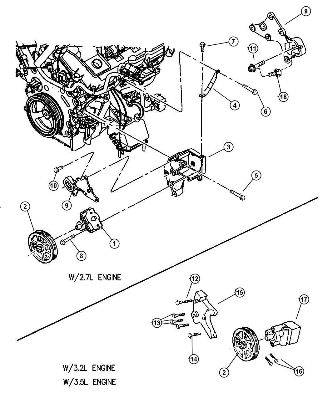 Dodge Intrepid Bracket Power Steering Pump Idler