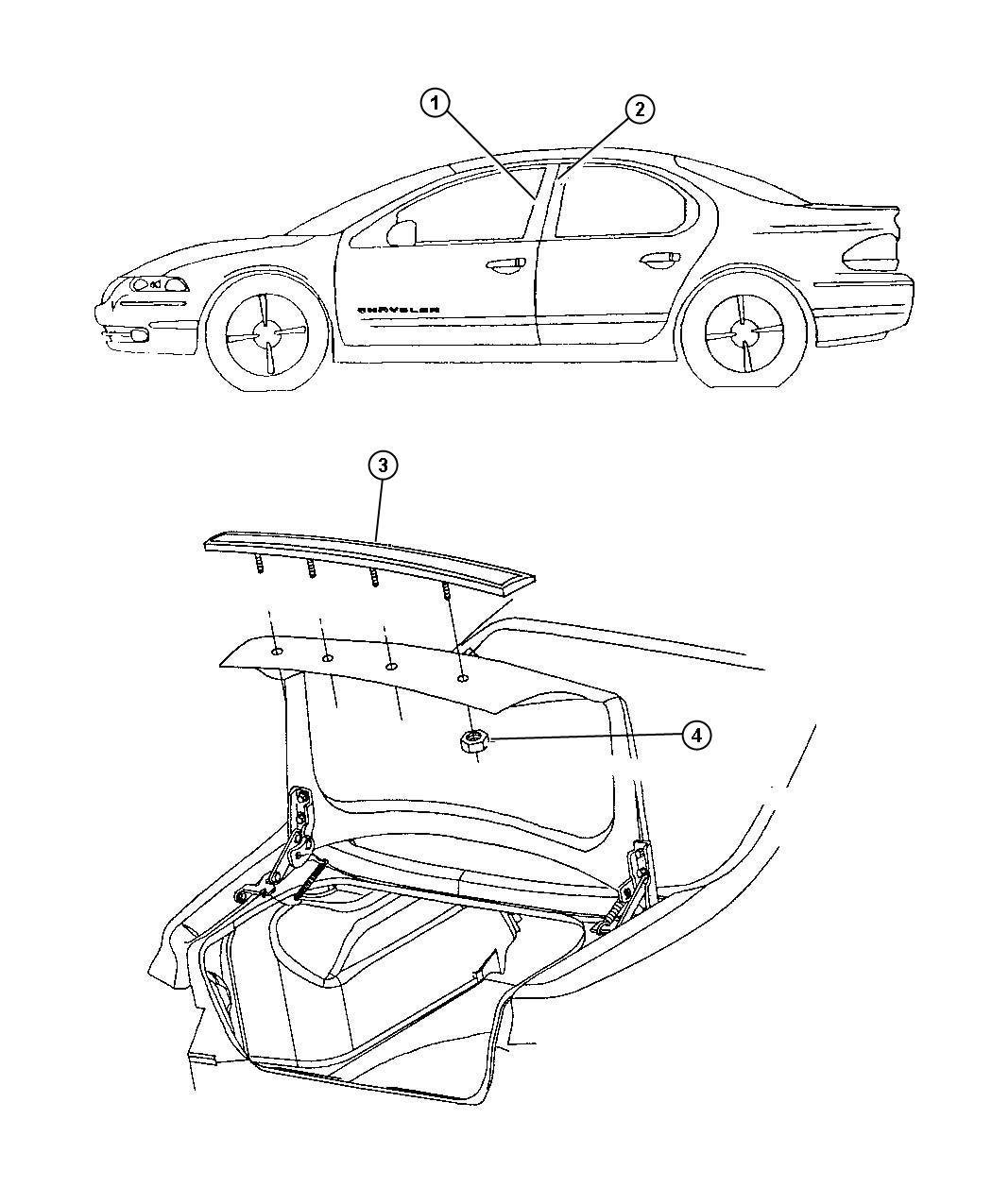 Chrysler Lhs Applique Deck Lid H D Tow Hooks