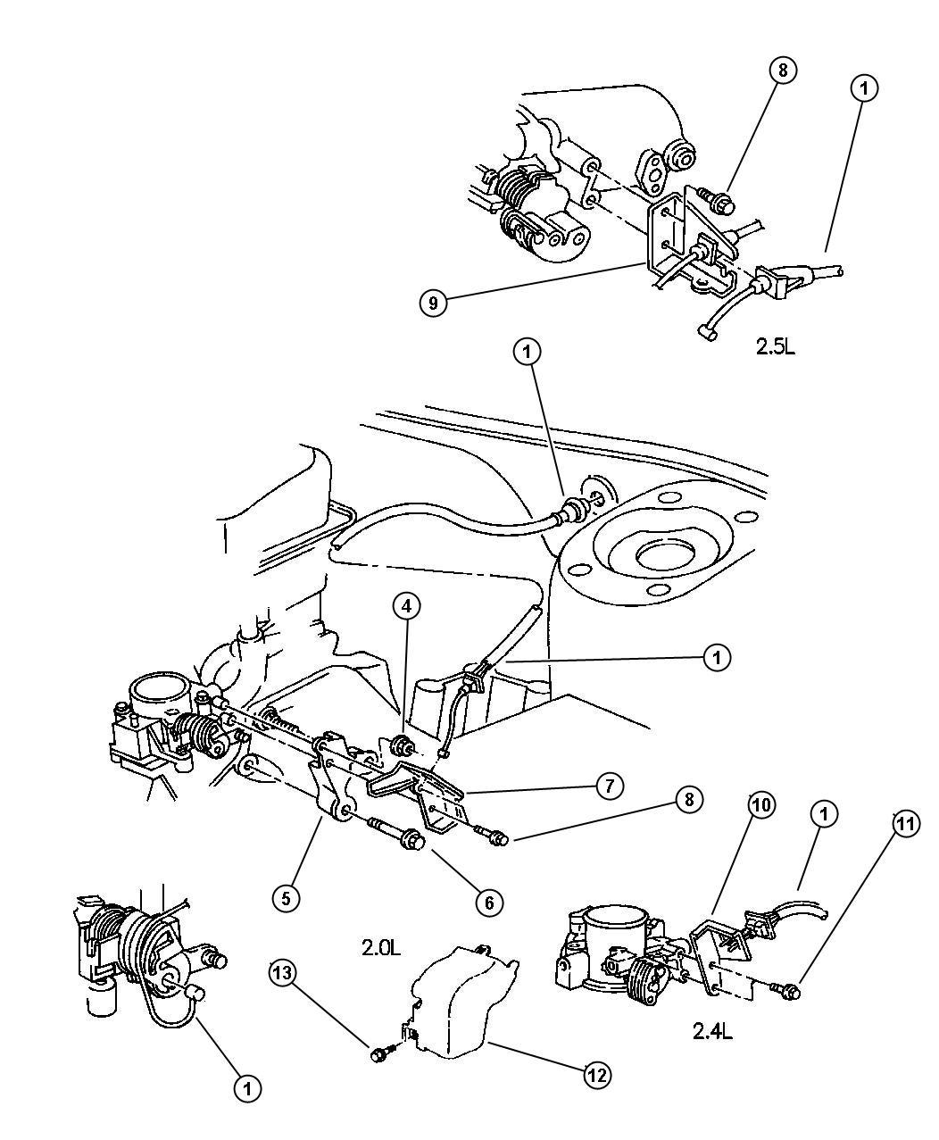 Dodge Stratus Grommet Throttle Control Cable Cable