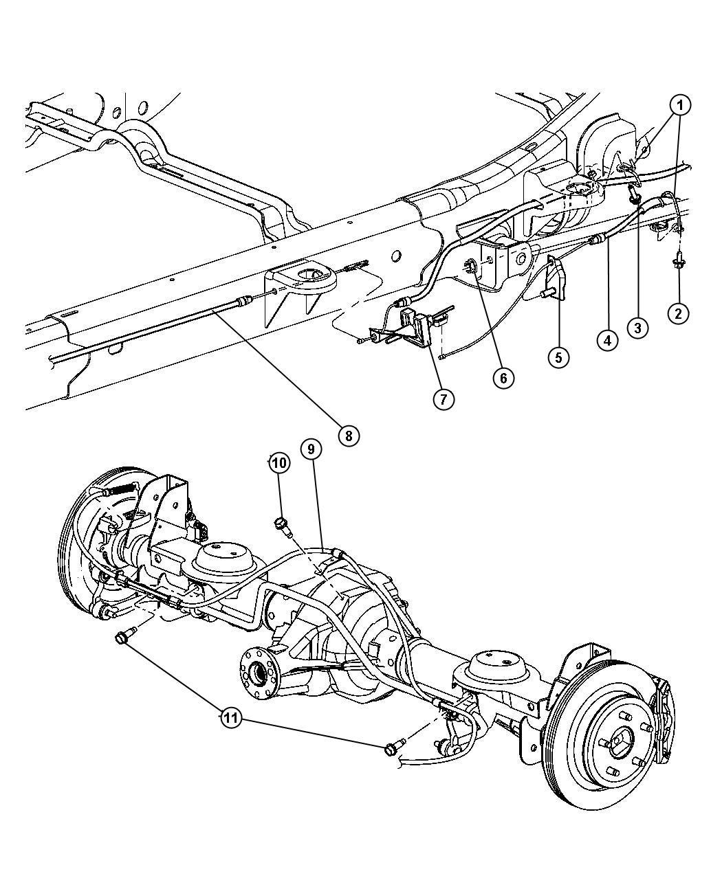 Dodge Durango Cable Parking Brake Front Lever Cables