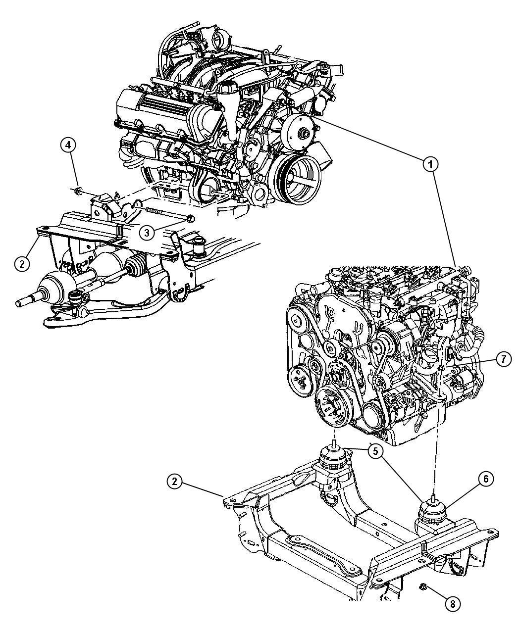 Jeep Liberty Insulator Engine Mount Shield Mounts