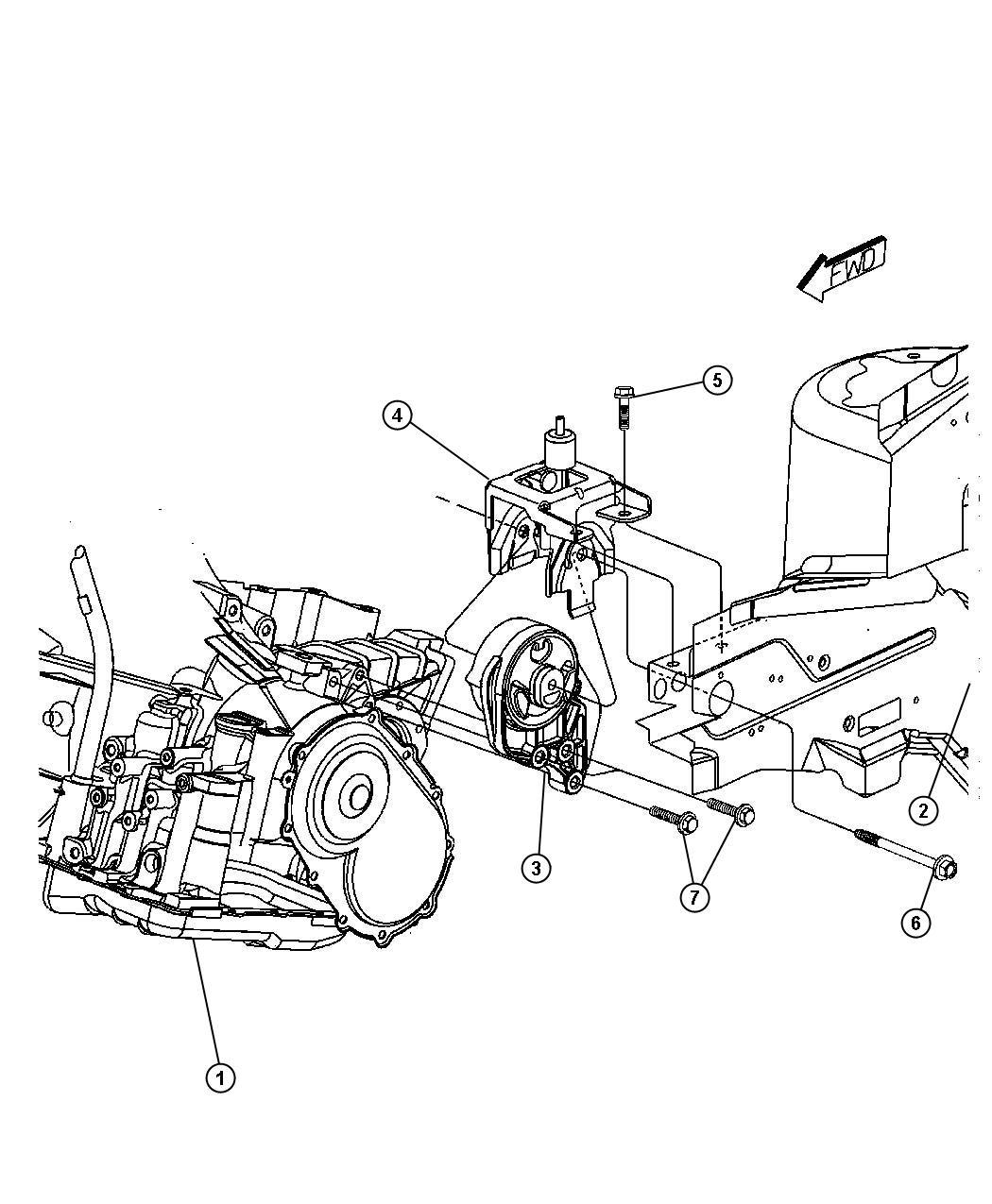 Dodge Caliber Support Engine Mount Transmission To