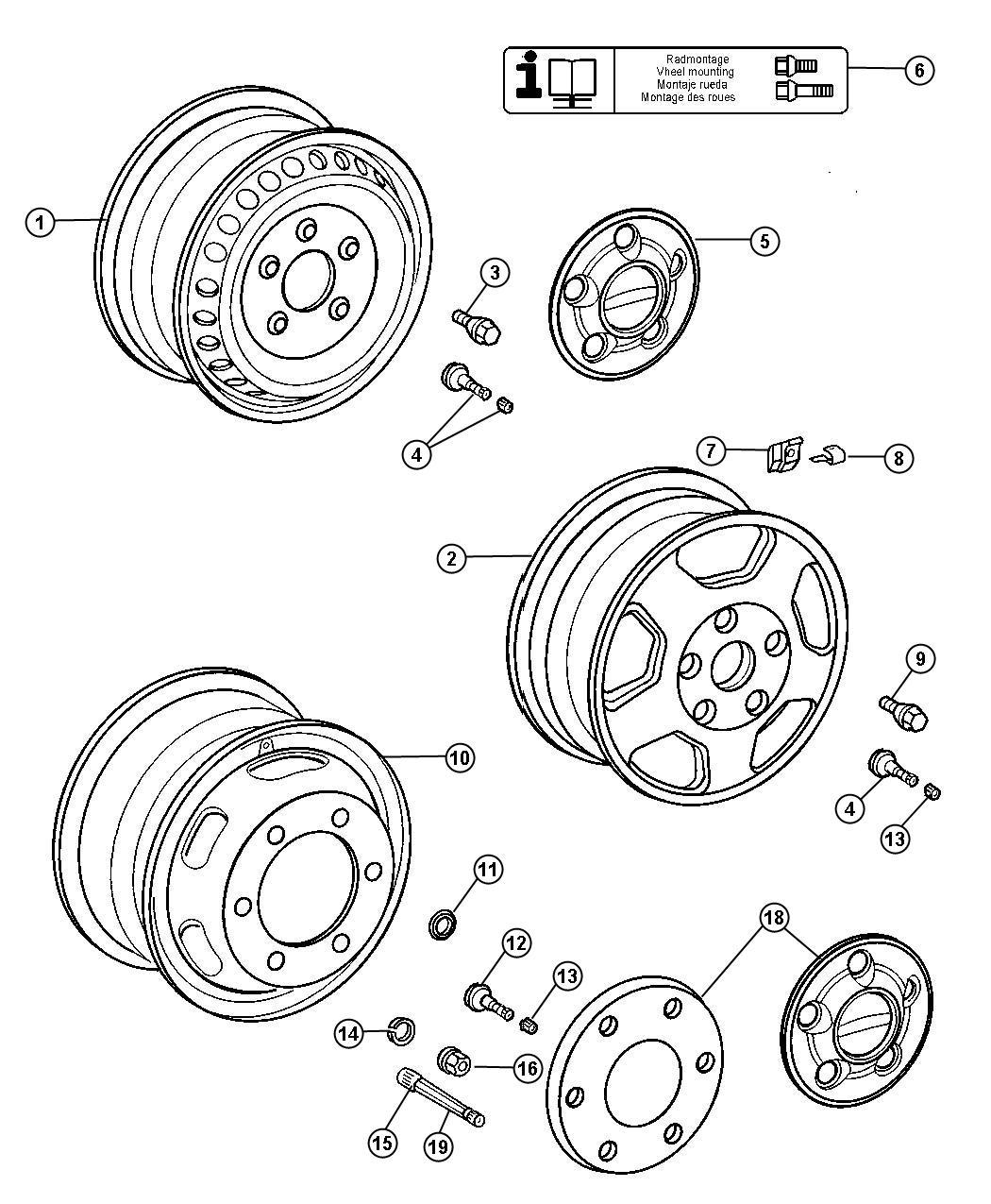 Dodge Sprinter Stem Wheel Valve Dual Rear