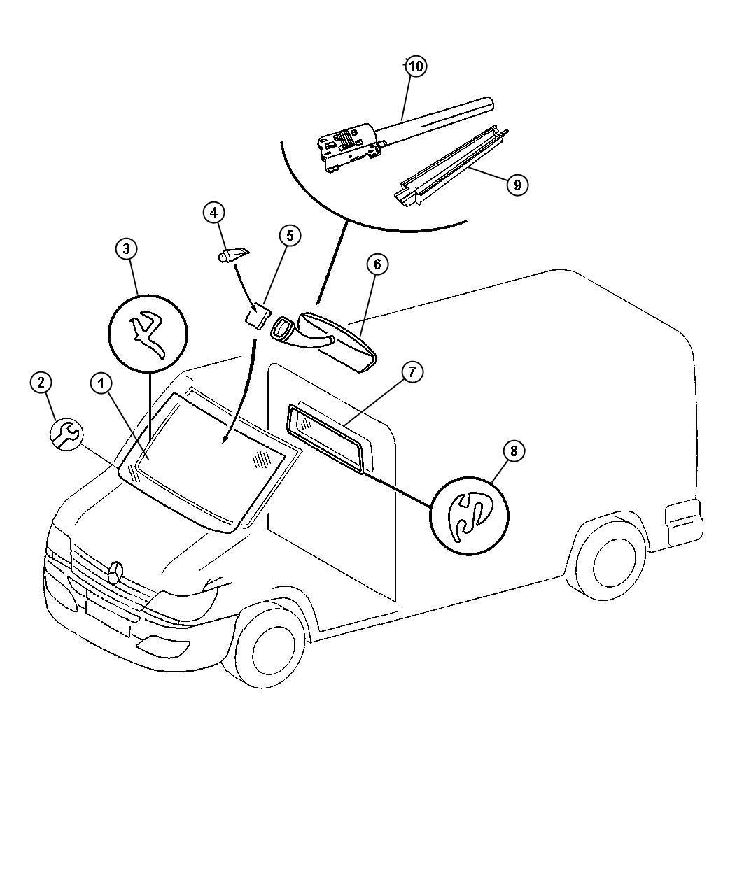 Dodge Sprinter Cover Rear View Mirror Wire Windshield