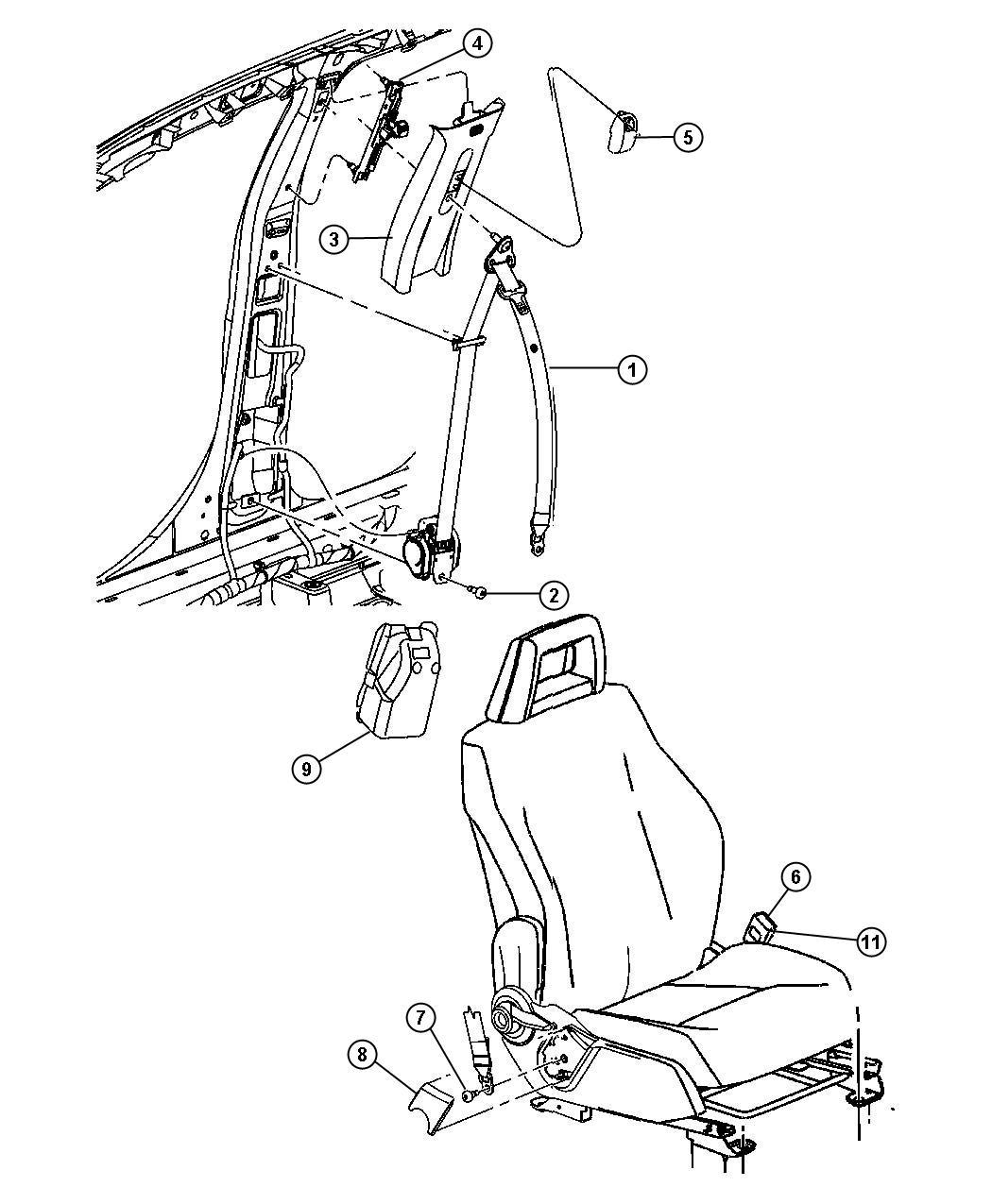 Dodge Caliber Cover Seat Belt Retractor Left Front