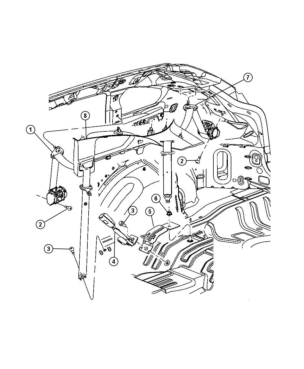 Dodge Caliber Seat Belt Rear Inner Right Da