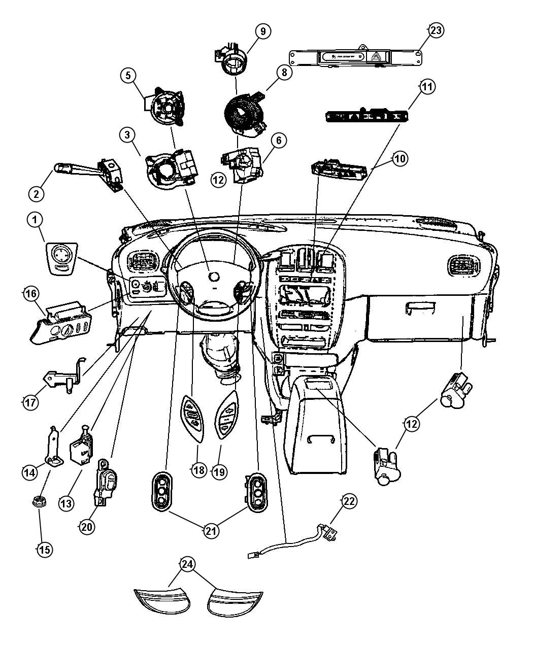 Dodge Grand Caravan Switch Hazard Warning Front