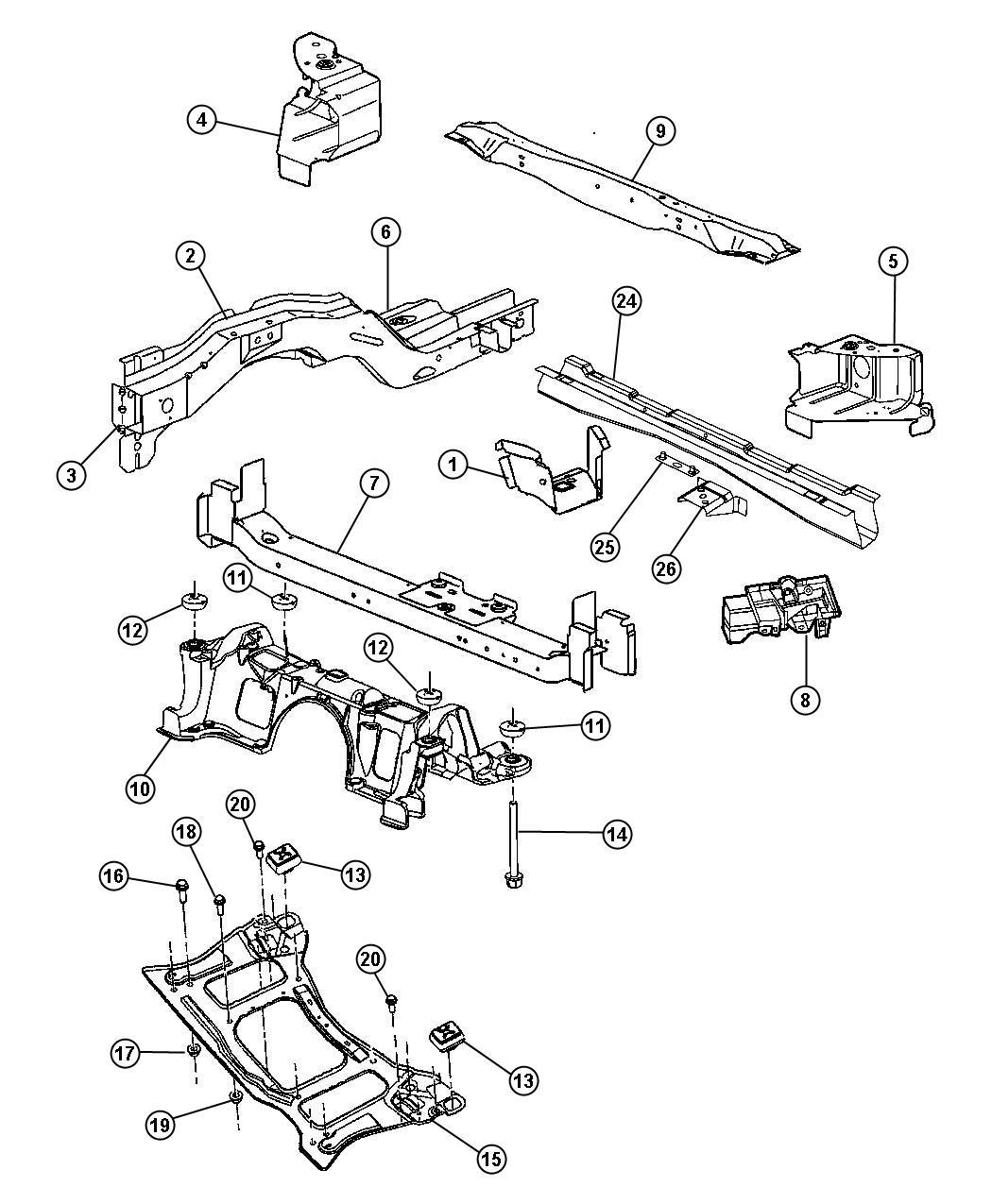 Dodge Caravan Crossmember Floor Pan Export Front