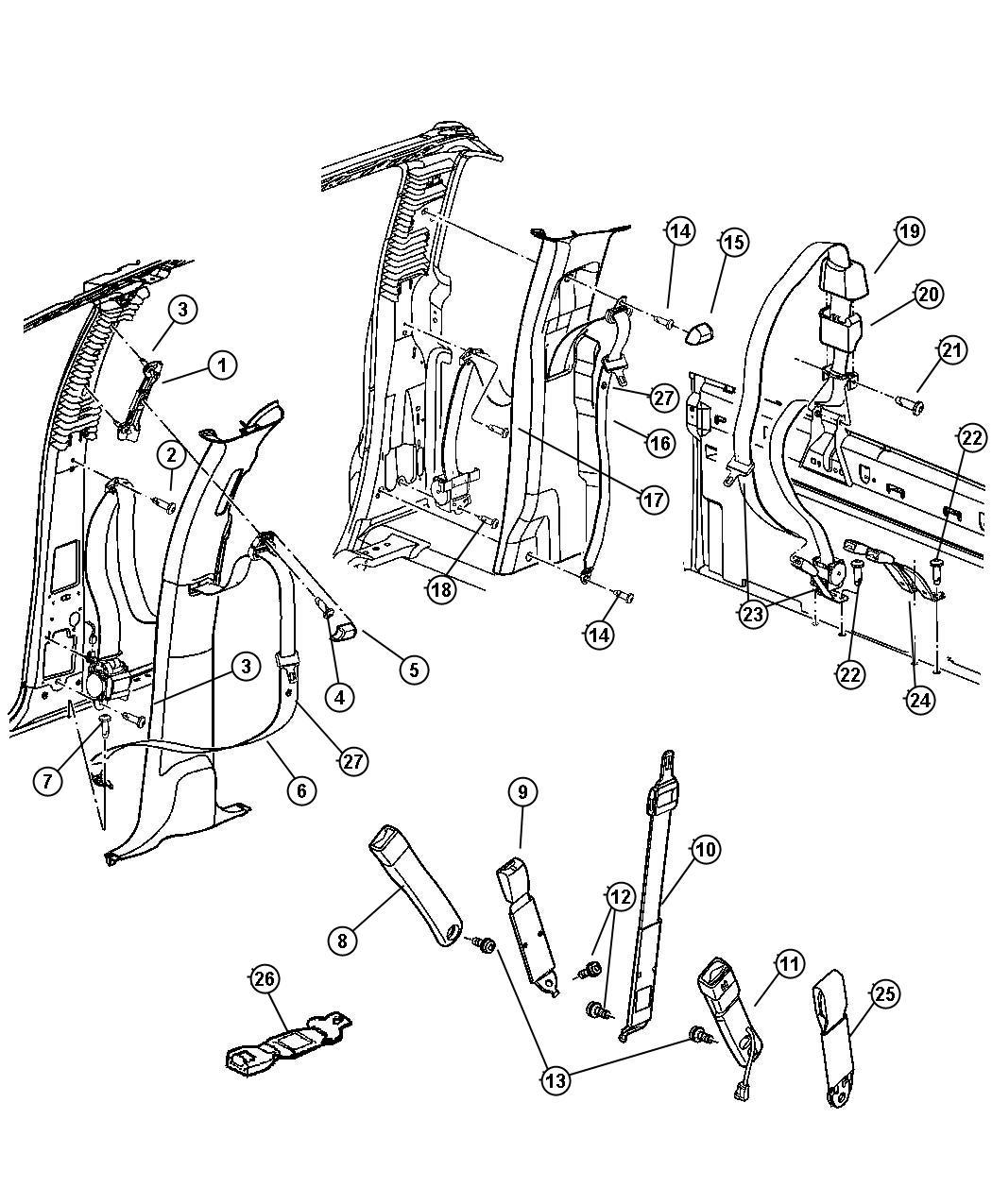 Dodge Ram Seat Belt Front Outer Right J3 Trim