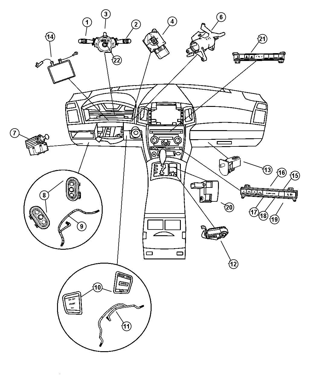 Jeep Commander Switch Instrument Panel Rear