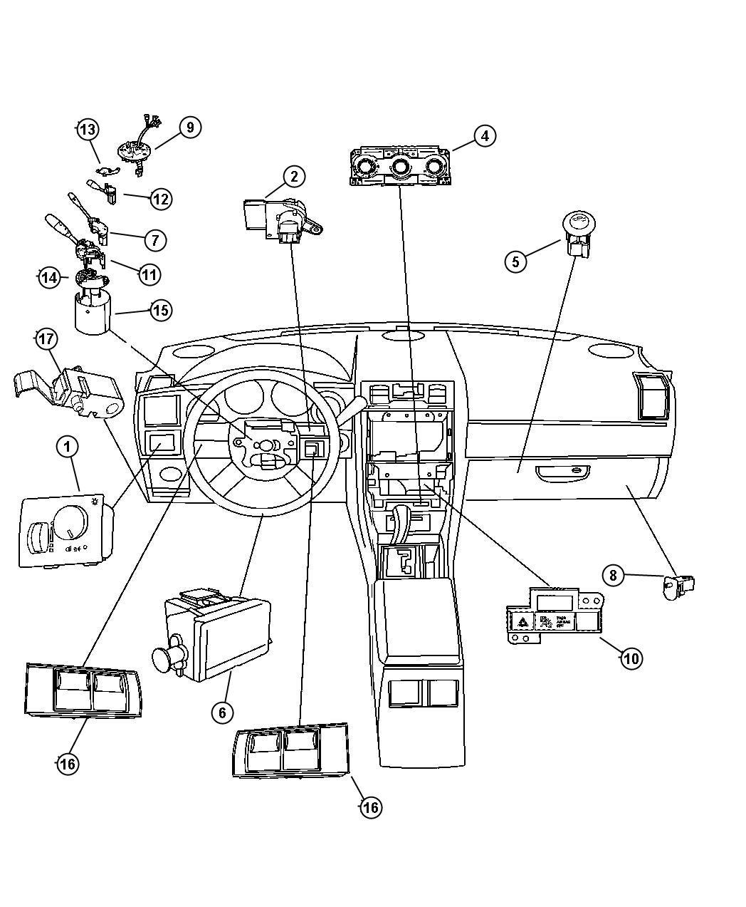 Dodge Magnum Module Steering Control Trim All