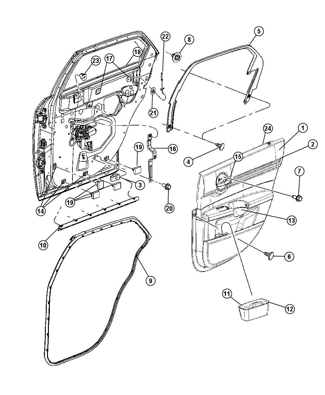 Dodge Magnum Panel Rear Door Trim Left Db Trim