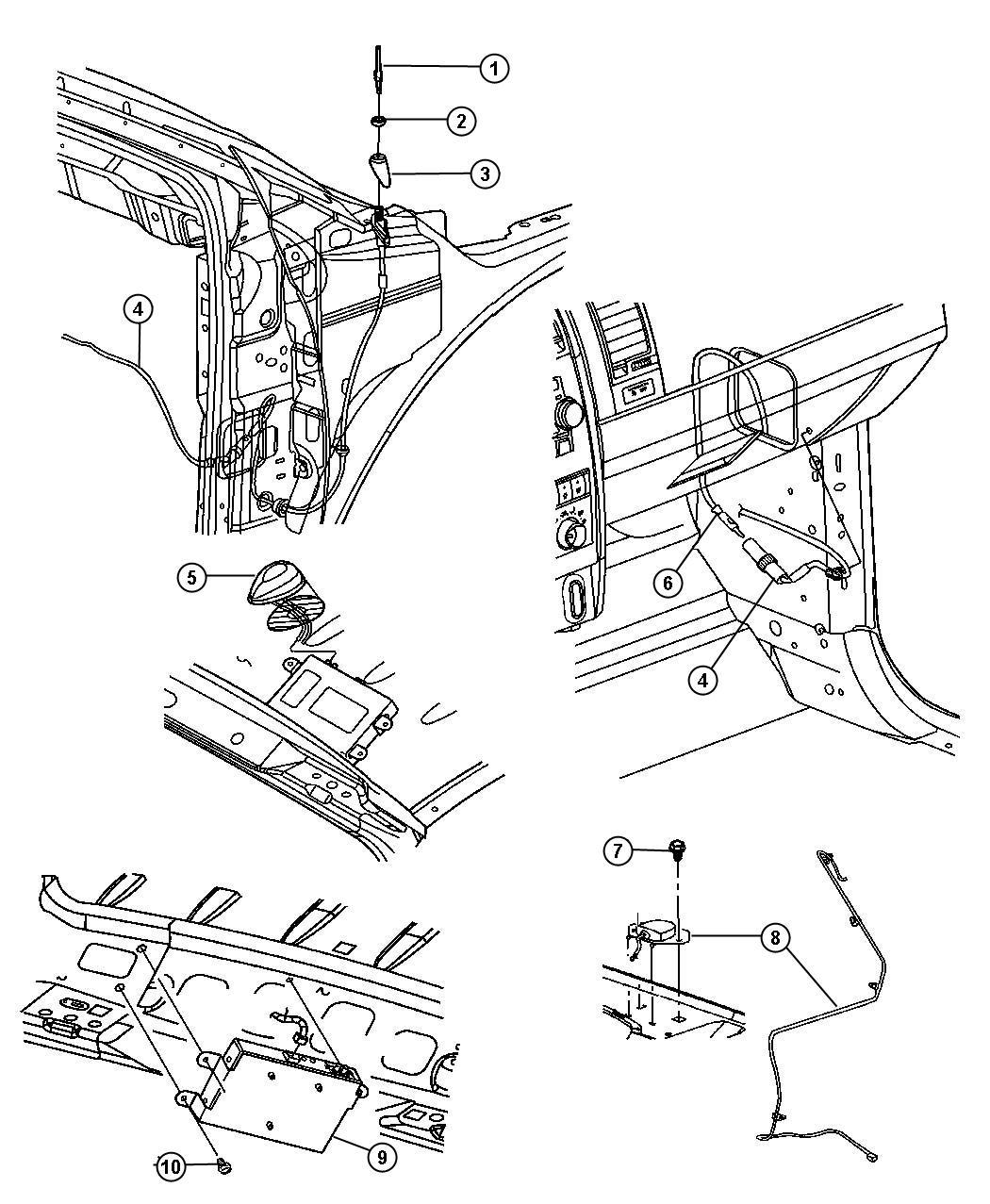 Chrysler Aspen Cable Antenna Trim O0 Panel Instrument Module