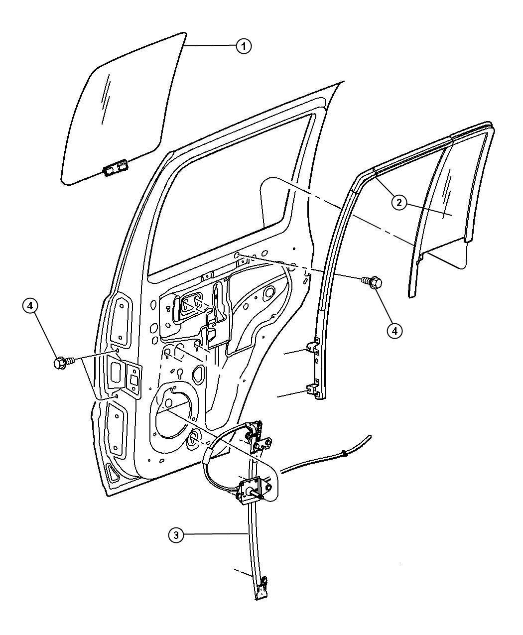Dodge Ram Regulator Rear Door Window After 2