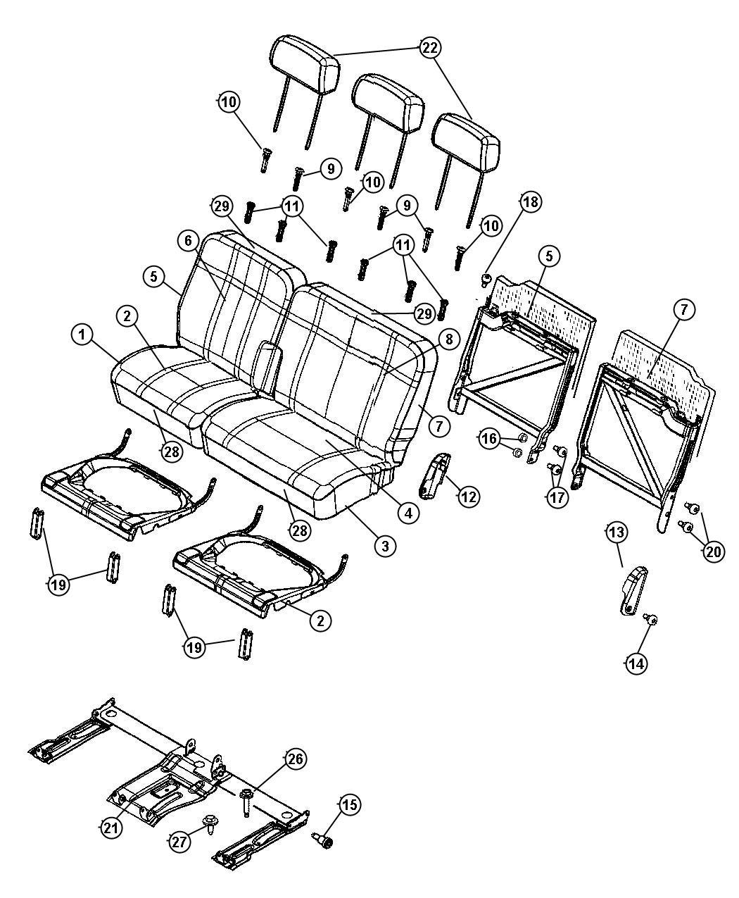 Chrysler Aspen Cover Rear Seat Back Trim Cloth Bucket