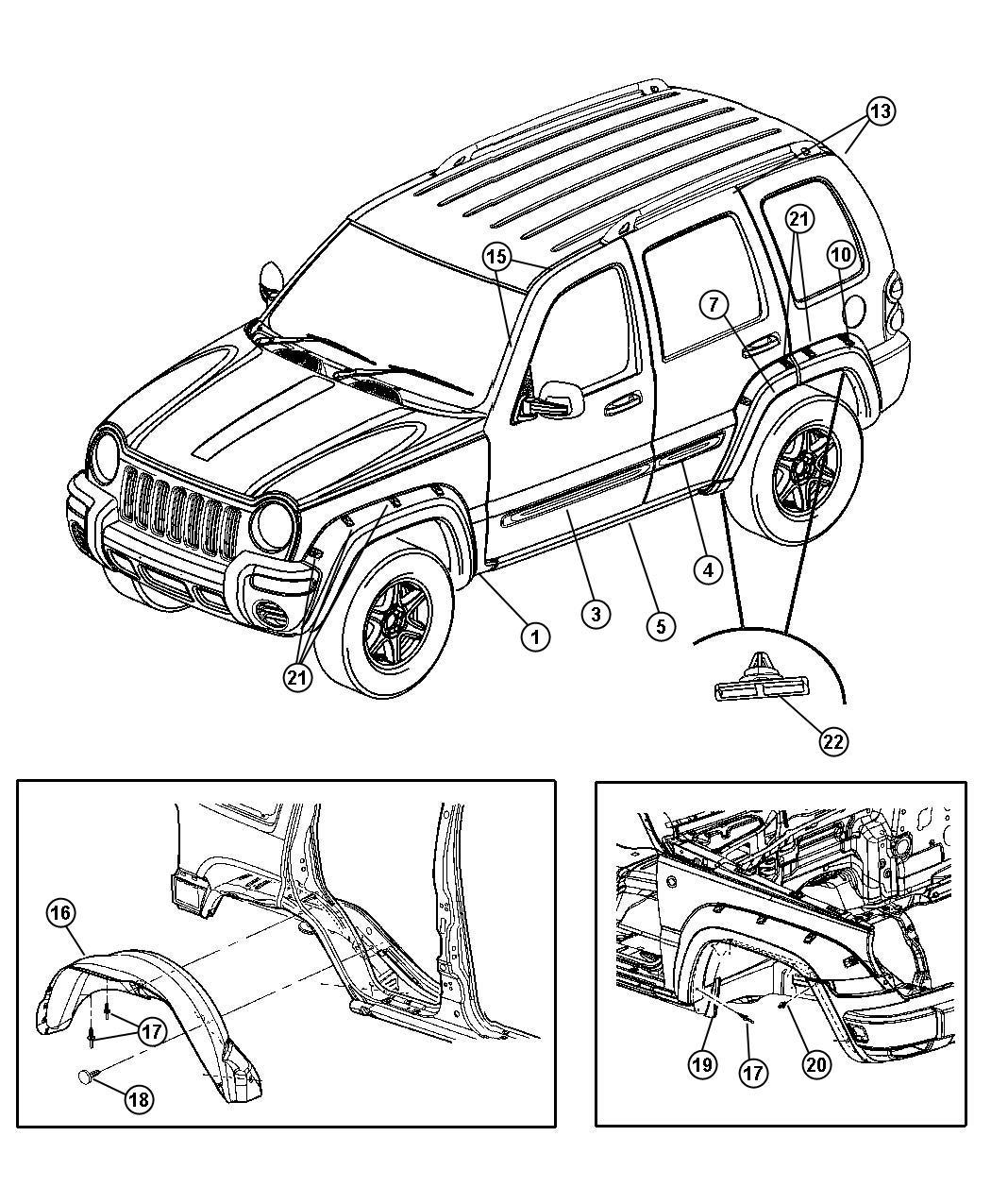 Jeep Liberty Applique Fender Wheel Opening Left