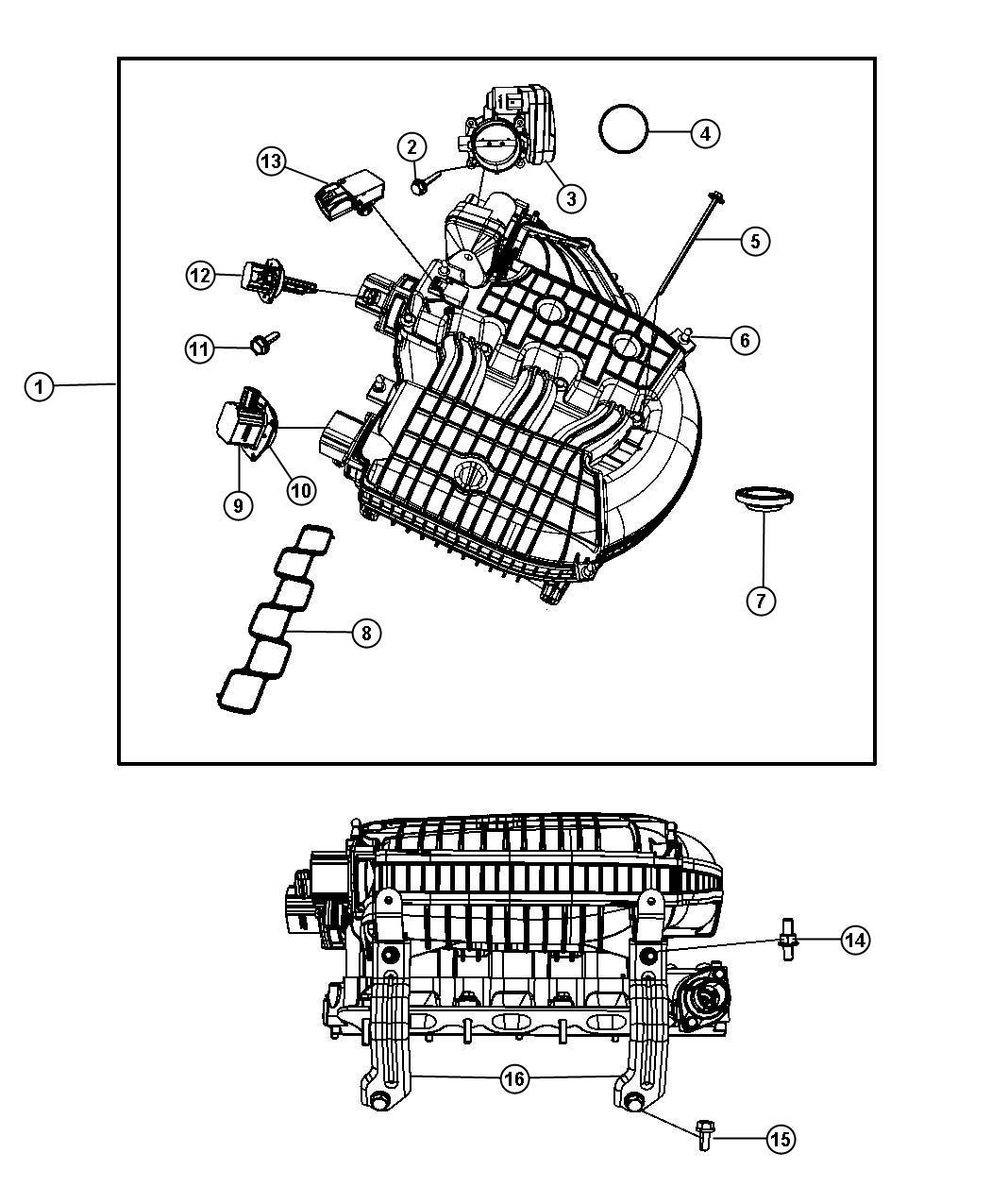 Dodge Nitro Plenum Intake Manifold Engine Upper Sohc