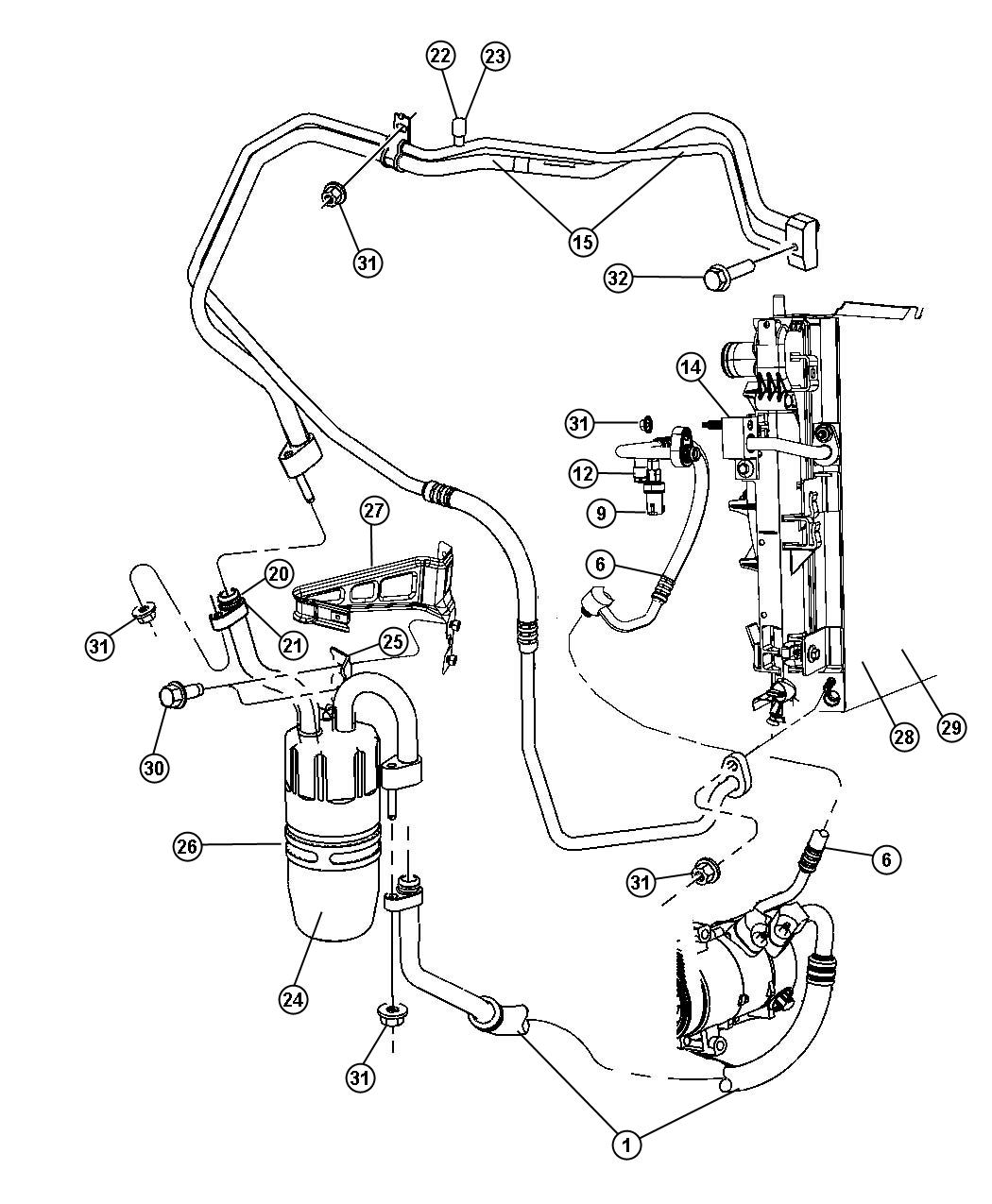 Chrysler Sebring Line A C Discharge Air Plumbing Conditioning