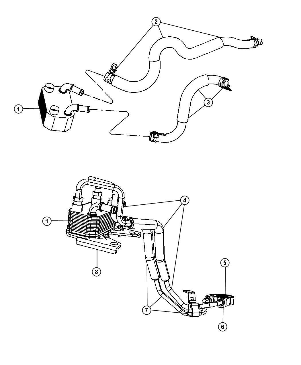 Chrysler Sebring Cooler Engine Oil Includes Bracket