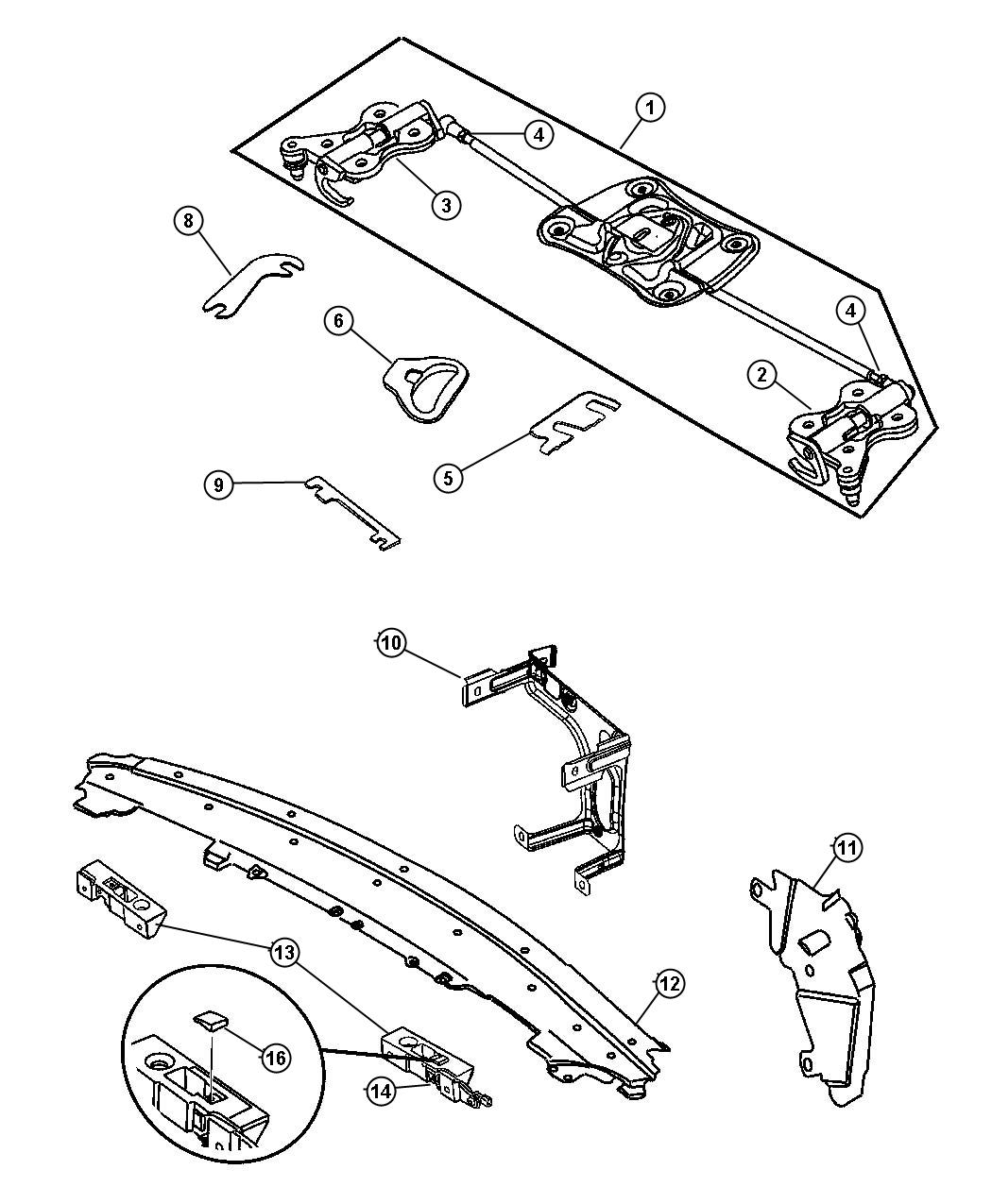 Chrysler Crossfire Latch Tonneau Cover Crossfire Body Assembly Header