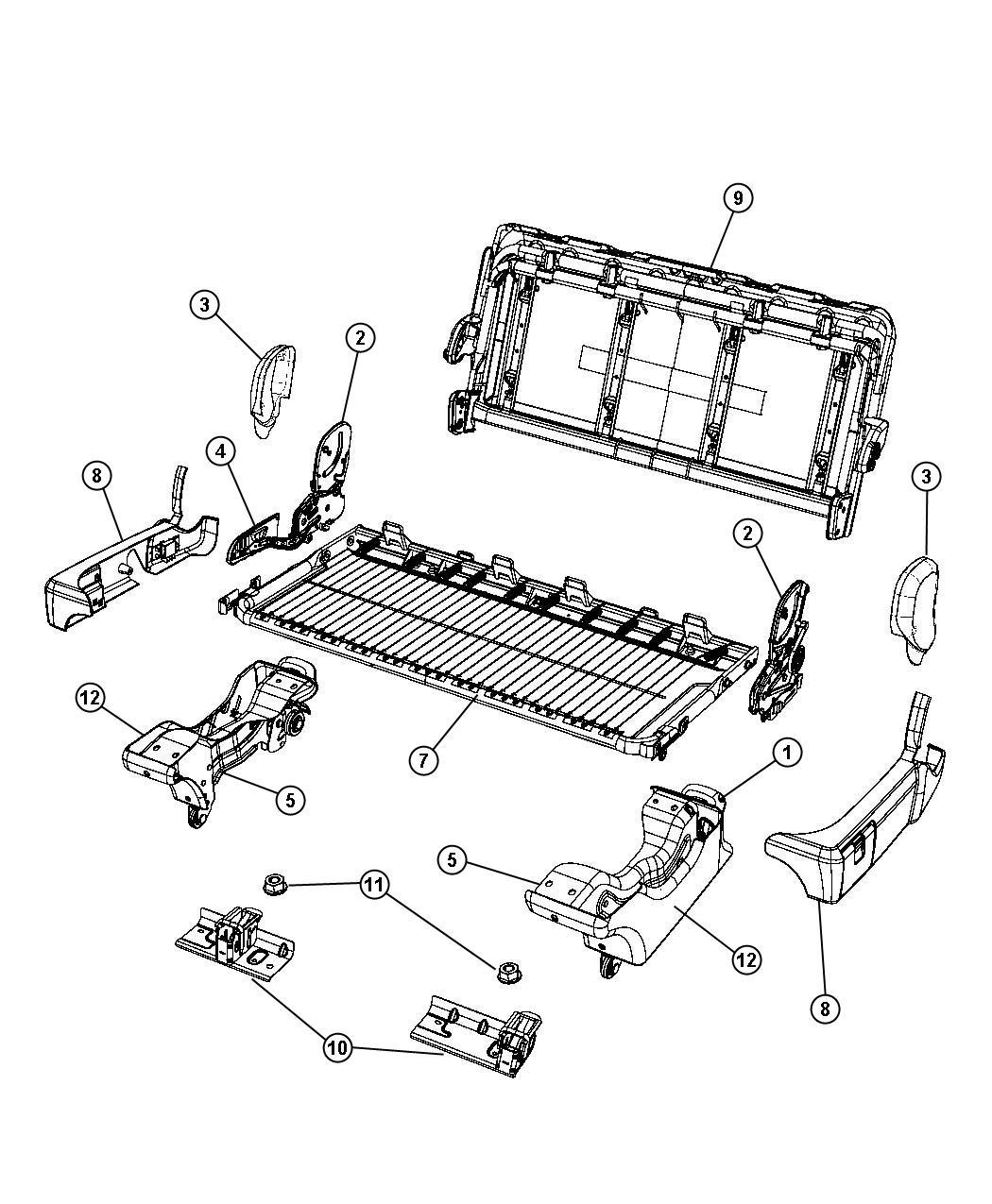 Dodge Grand Caravan Frame Rear Seat Back Dlx Bench
