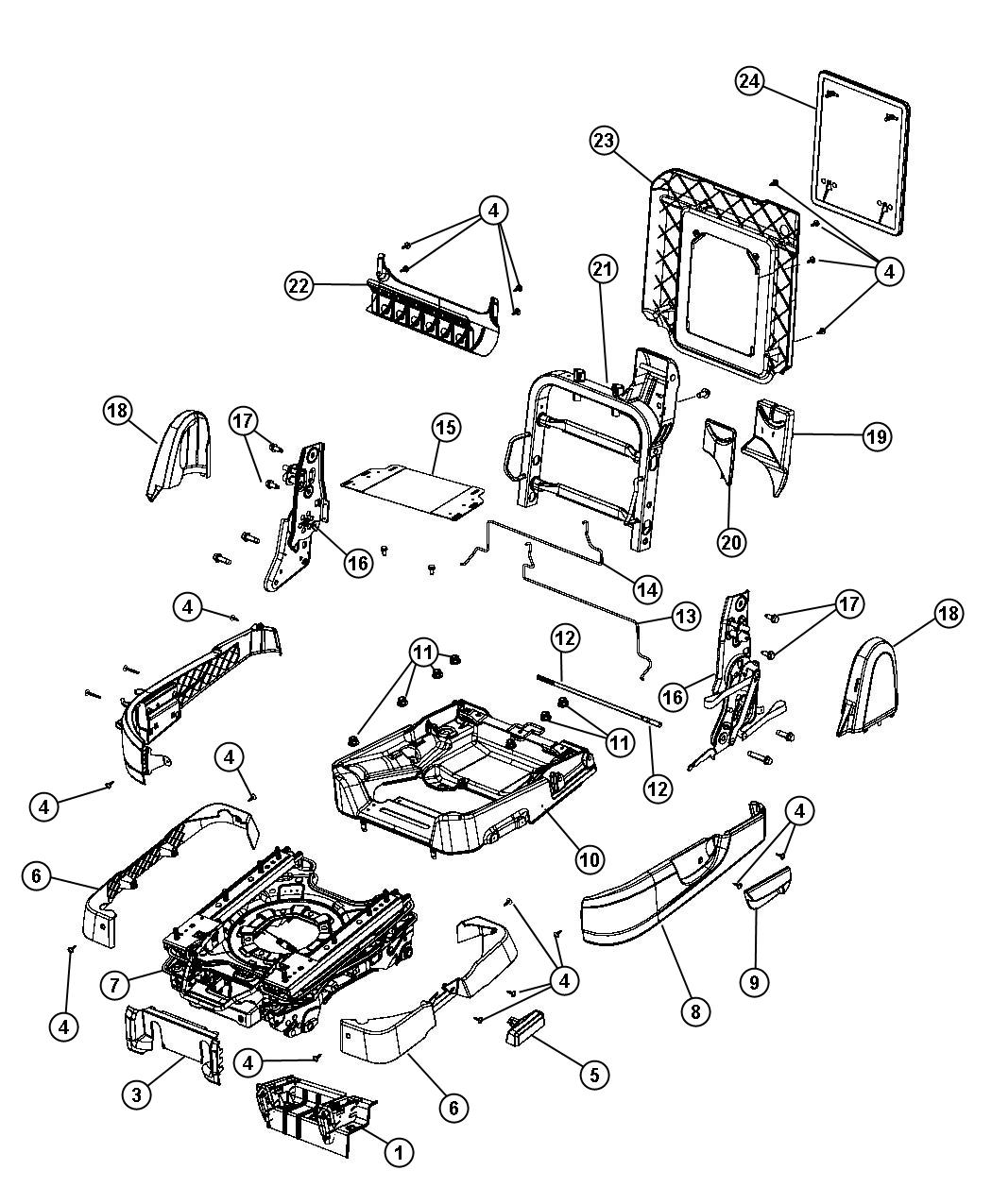 Dodge Grand Caravan Bracket Seat Without Heated Second