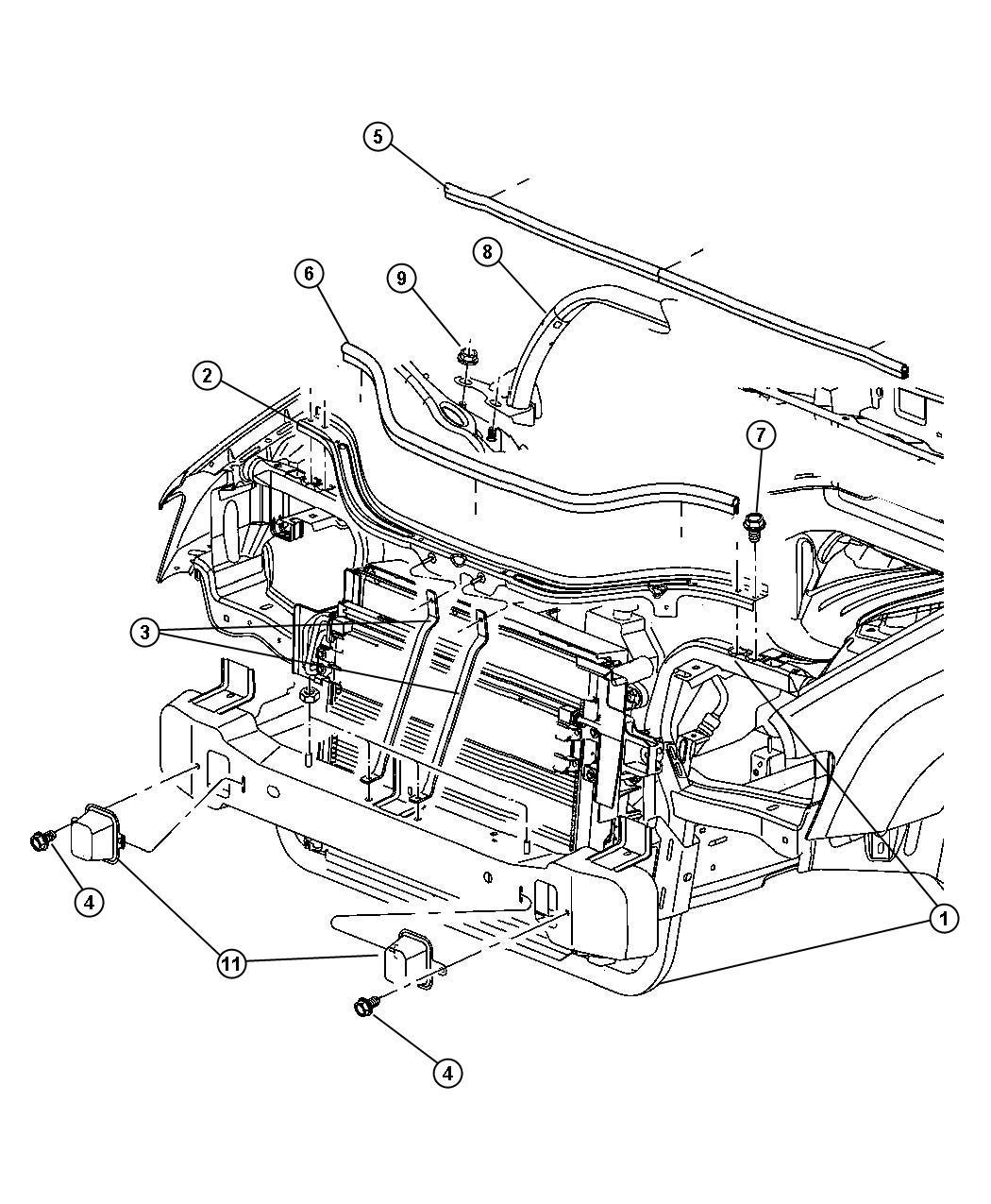 Dodge Avenger Crossmember Radiator Upper Support