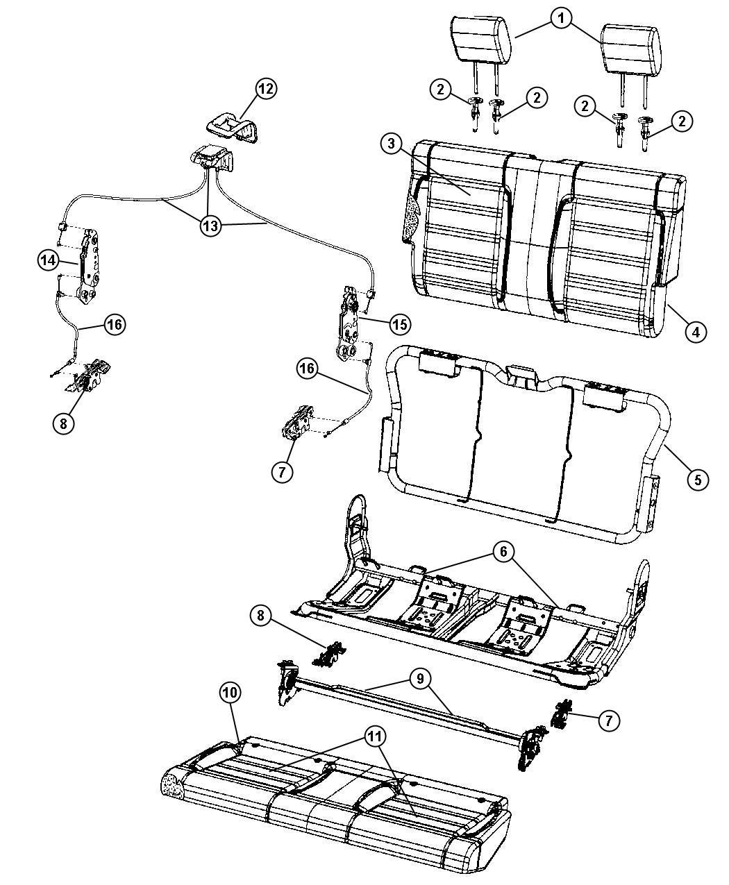 Jeep Wrangler Cover Rear Seat Back Dd Trim Frt