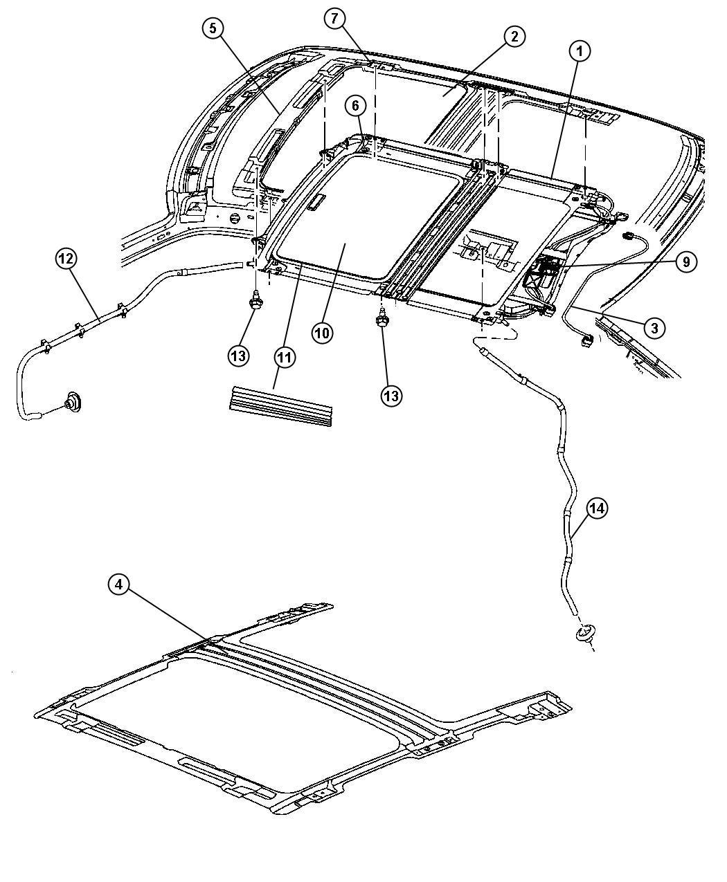 Jeep Grand Cherokee Guide Sunroof Glass Left Trim
