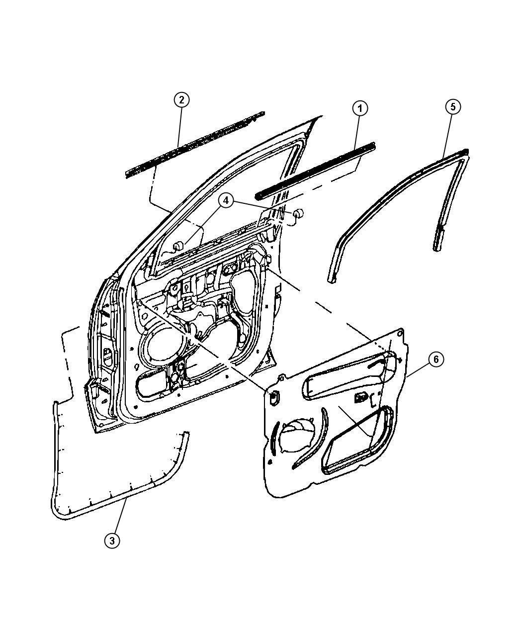 Jeep Grand Cherokee Weatherstrip Front Door Belt
