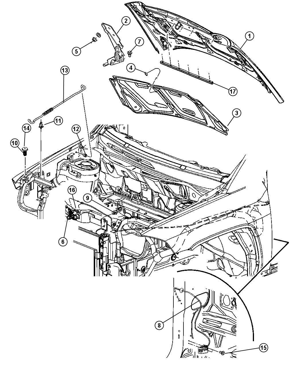 Jeep Compass Screw Stud Brake Lever Bumper