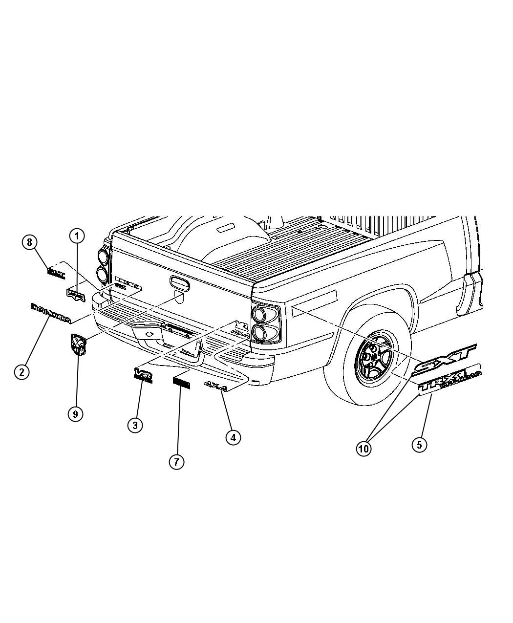 Dodge Dakota Decal Sxt Sxt Badge Nameplates Box