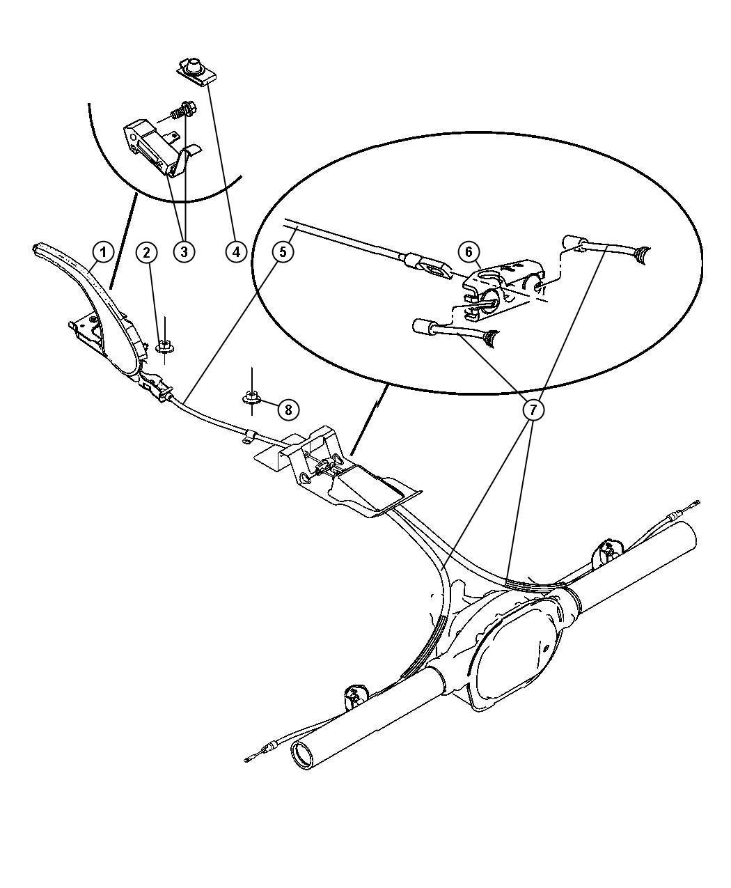 Jeep Grand Cherokee Cable Parking Brake Front