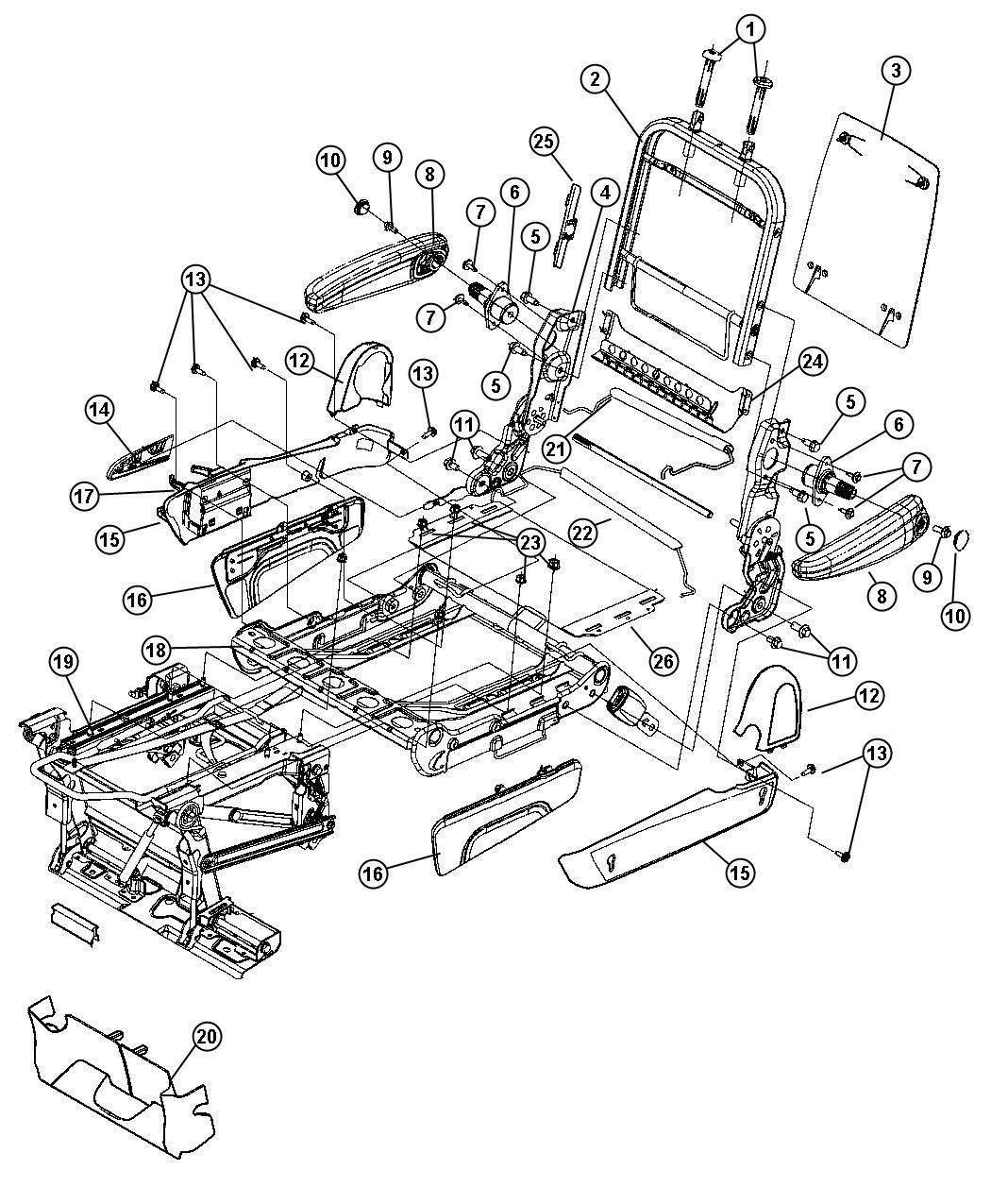 Jeep Patriot Bracket Recline Cover Trim Seats