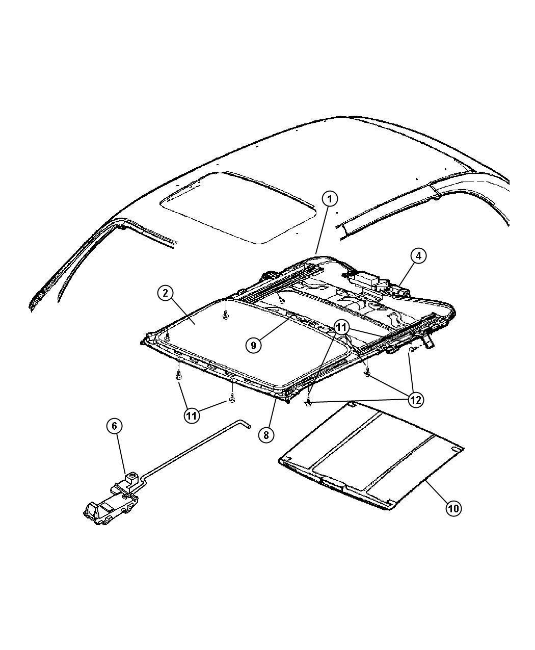 Dodge Grand Caravan Seal Sunroof Glass Trim All