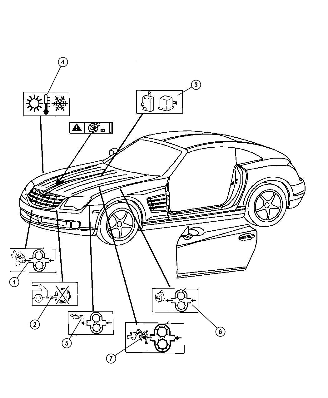 Chrysler Crossfire Label Coolant Warning Without