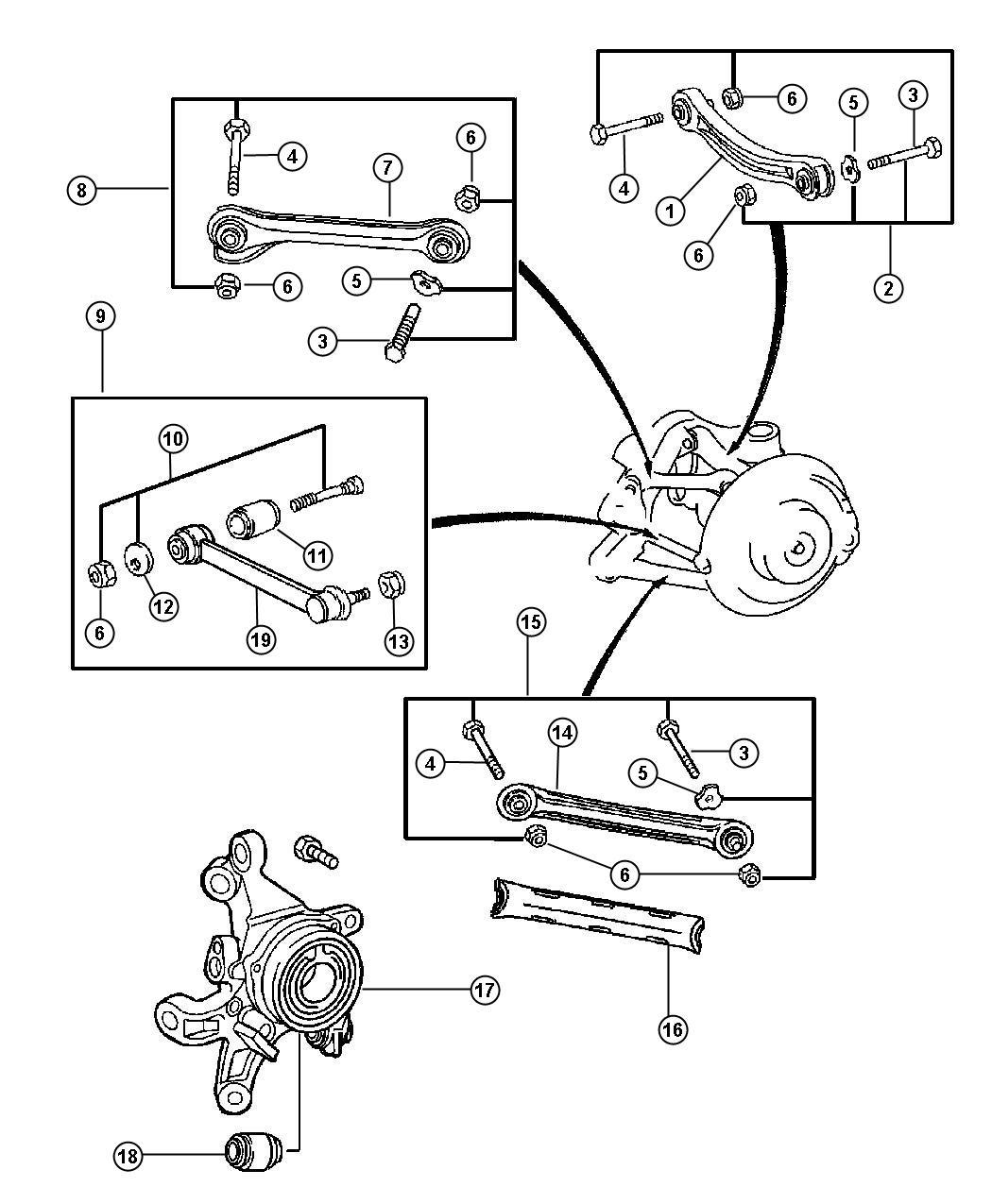Chrysler Crossfire Track Bar Rear Suspension Mopar