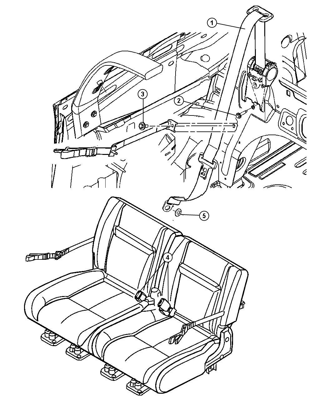 Chrysler Pt Cruiser Seat Belt Rear Ka Trim